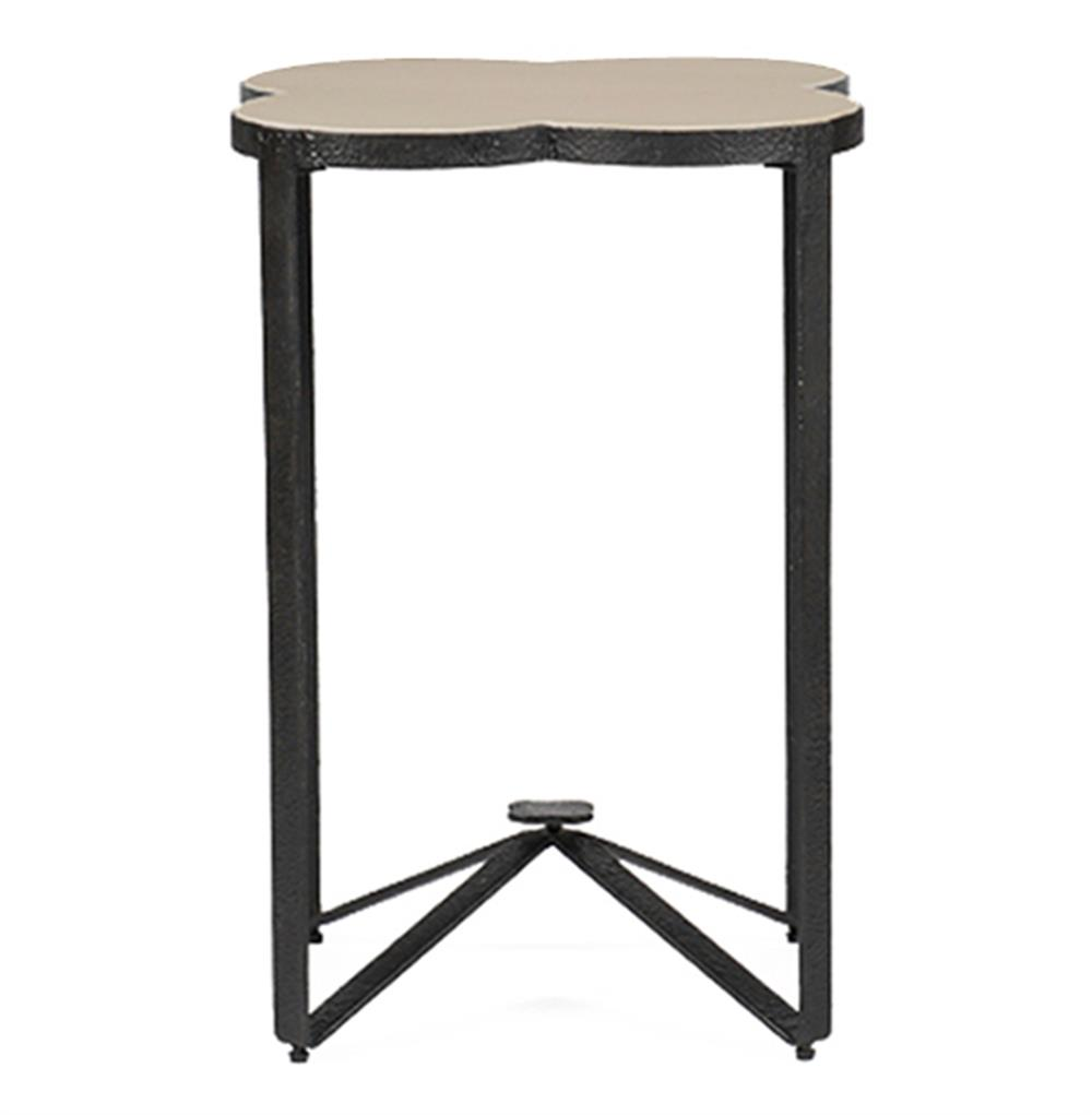cynthia modern classic quatrefoil limestone iron accent end table product wood view full size white gloss console metal bar threshold acrylic round chairs winsome timmy diy legs