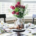 cynthia rowley square floral placemats breakfast table with accent placemat purple tulips and copper accents ethan allen leather furniture cast aluminum side dark wood coffee 150x150