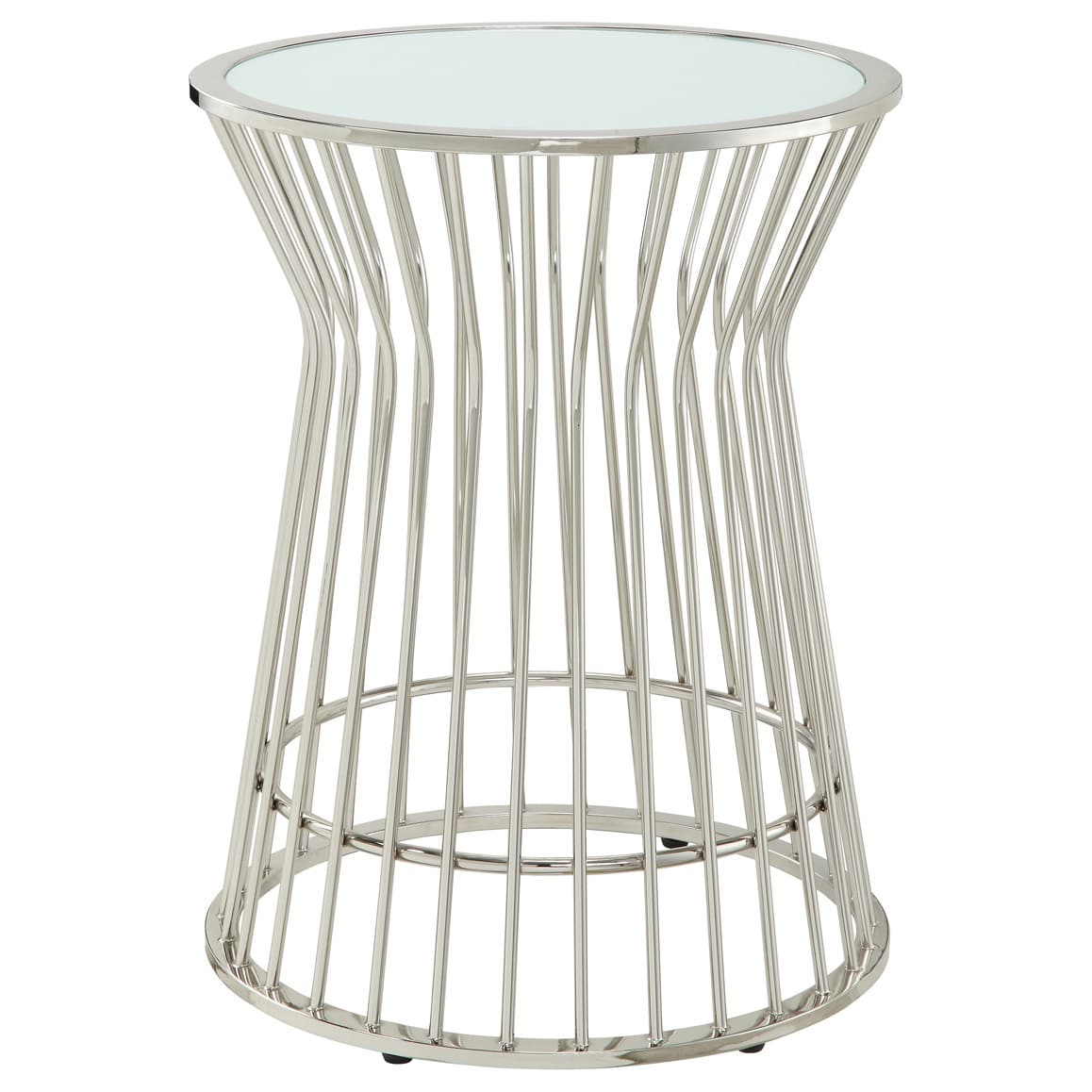 cyril contemporary glam metal frosted glass drum accent table inspire bold white free shipping today ikea box unit navy coffee chairs set vintage mirror side narrow trestle home