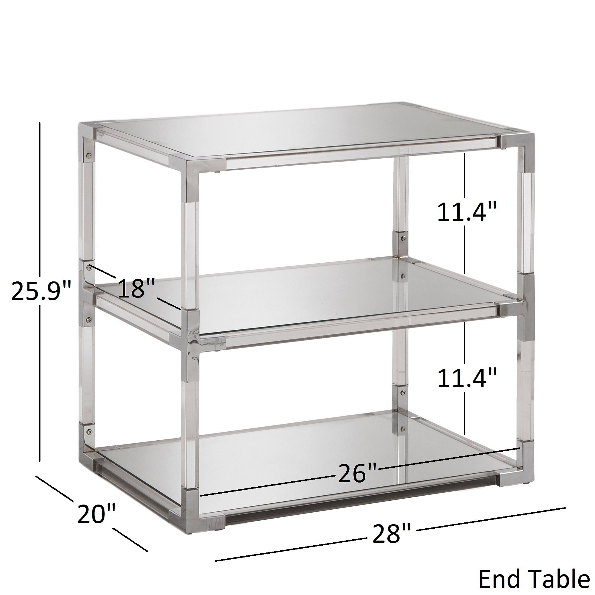 cyrus clear chrome corner mirrored shelf accent tables inspire glass table with drawer bold free shipping today moroccan tray meyda tiffany turtle lamp west elm industrial console