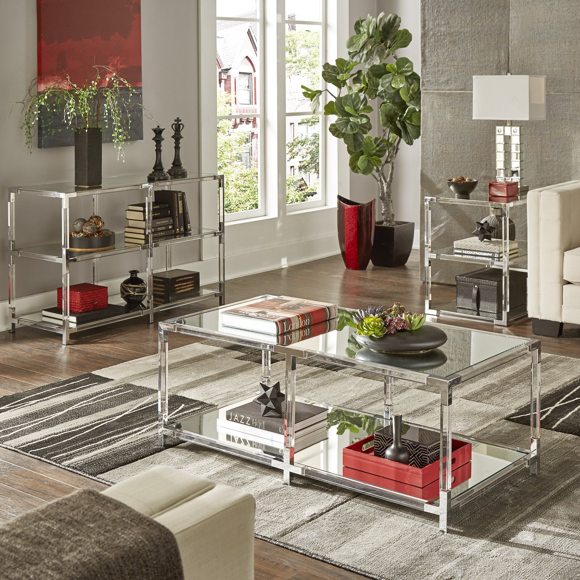 cyrus clear chrome corner mirrored shelf accent tables inspire table for dining room bold free shipping today cast iron patio furniture living packages lighthouse lamps nautical