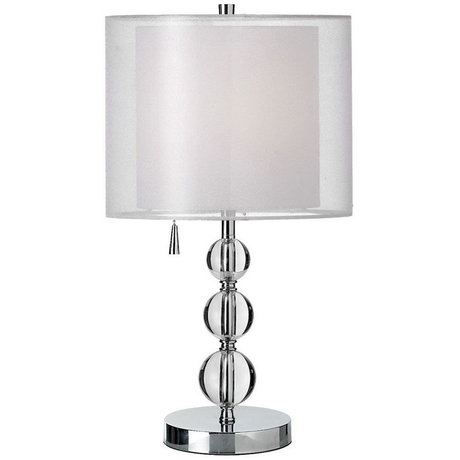 dainolite lighting polished chrome crystal accent table lamp with white linen shade round wood coffee carpet dividers jcpenney quilts mirror design cocktail linens most popular
