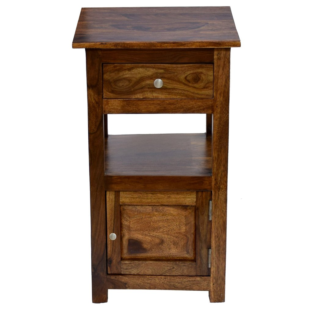 daintree sheesham wood draw door tanya side end corner accent other table timbertaste natural teak finish bathroom furniture small floor cabinet half circle entry gold with marble