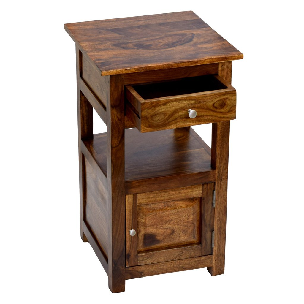 daintree sheesham wood draw door tanya side end corner accent other table timbertaste natural teak finish pottery barn hardware rose gold furniture kitchen sets ikea desk legs