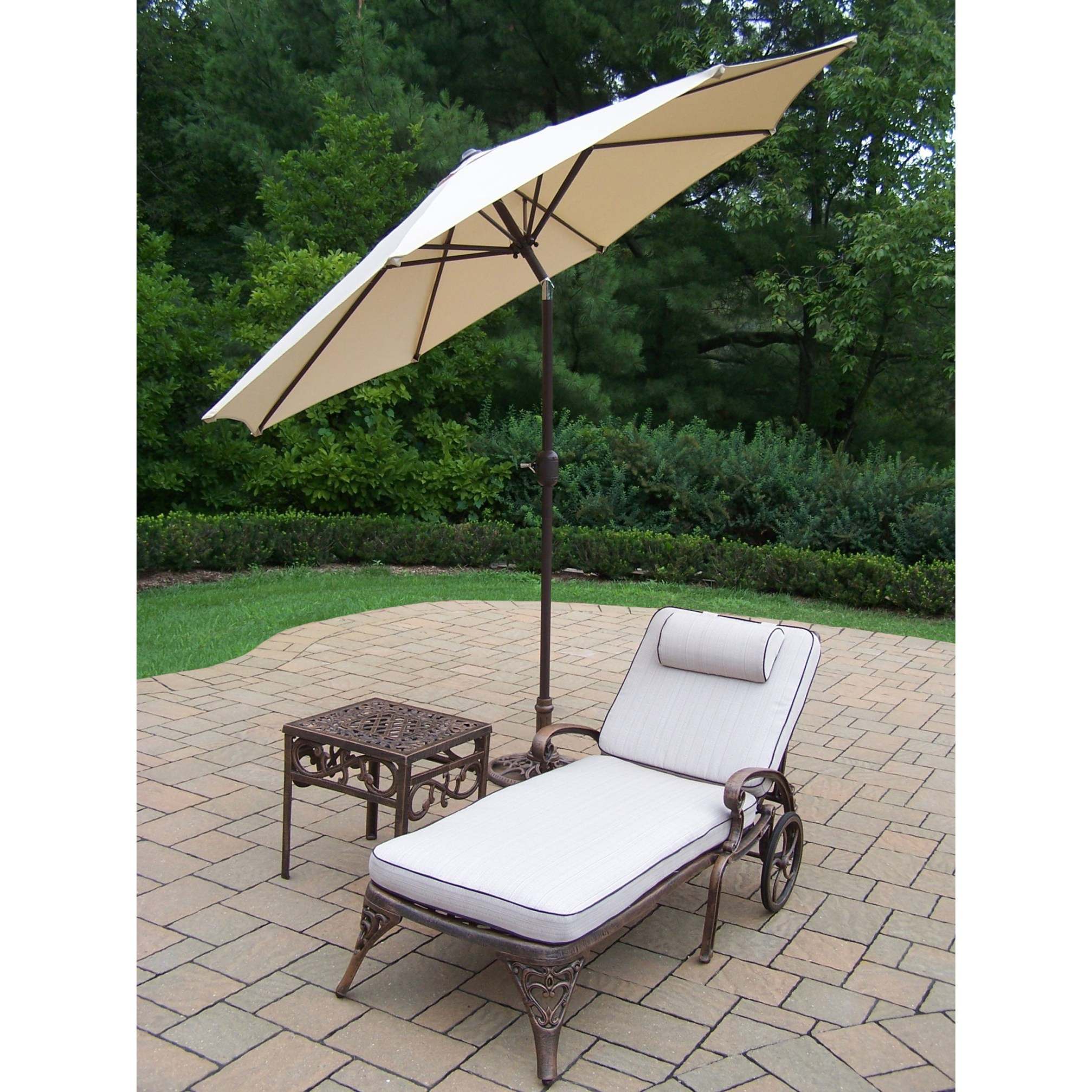 dakota cast aluminum lounge set with cushioned wheeled chaise square side table and beige umbrella stand outdoor free shipping today tall metal end black glass living room tables