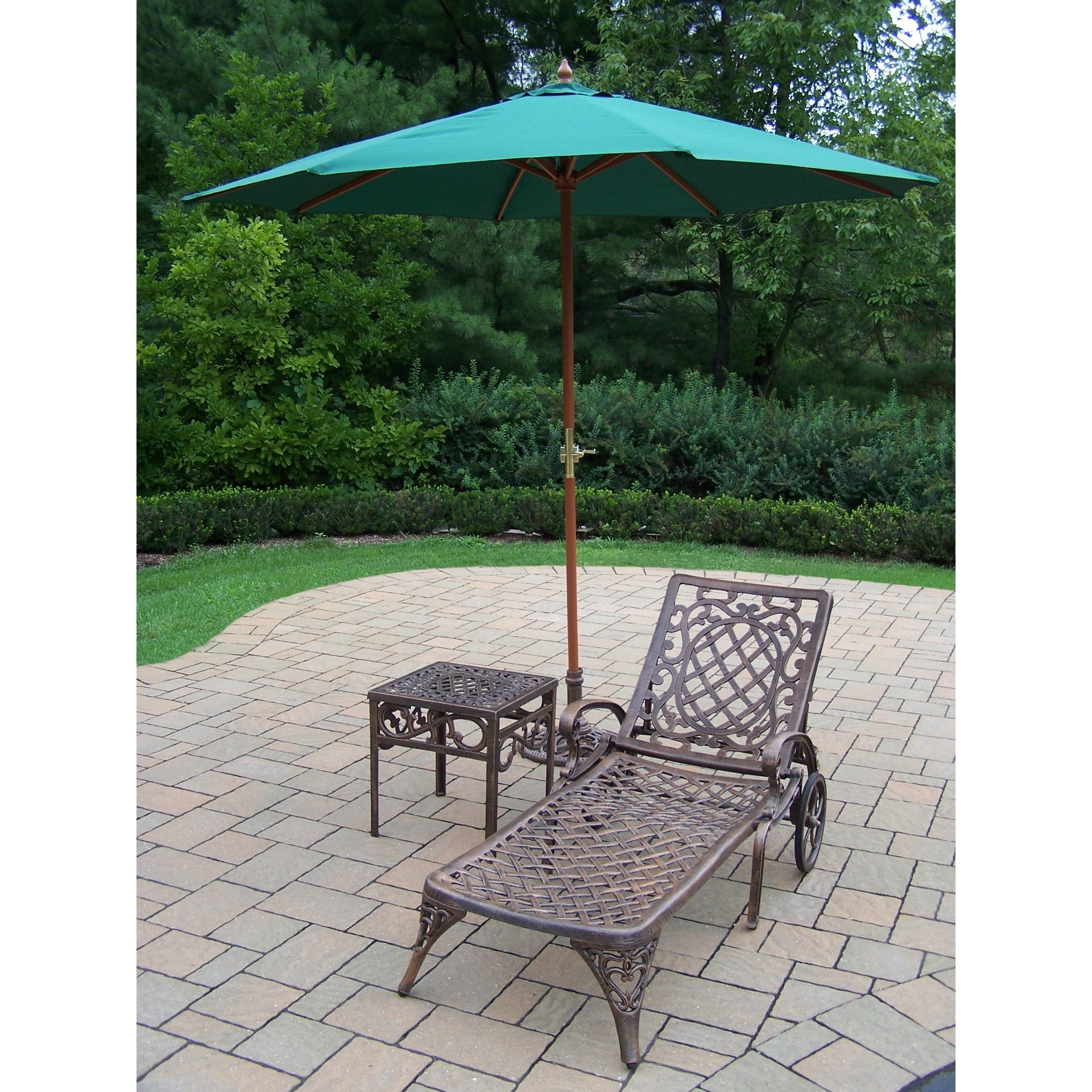dakota cast aluminum lounge set with umbrella free shipping wheeled chaise square side table and green wooden stand outdoor today wicker furniture jcpenney patio chairs for small