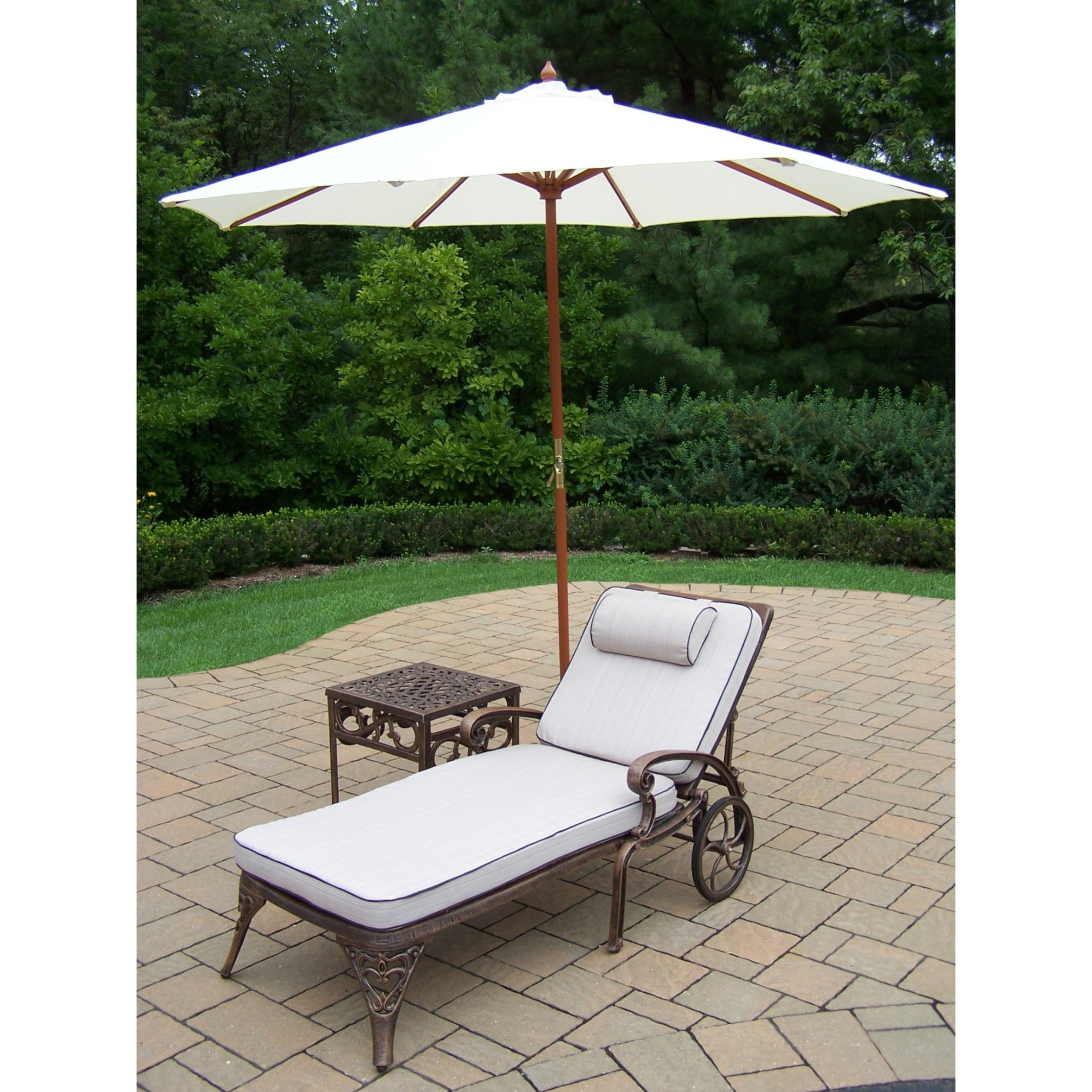 dakota cast aluminum white umbrella lounge set free shipping with cushioned wheeled chaise square side table and wooden stand outdoor today wicker furniture curved coffee