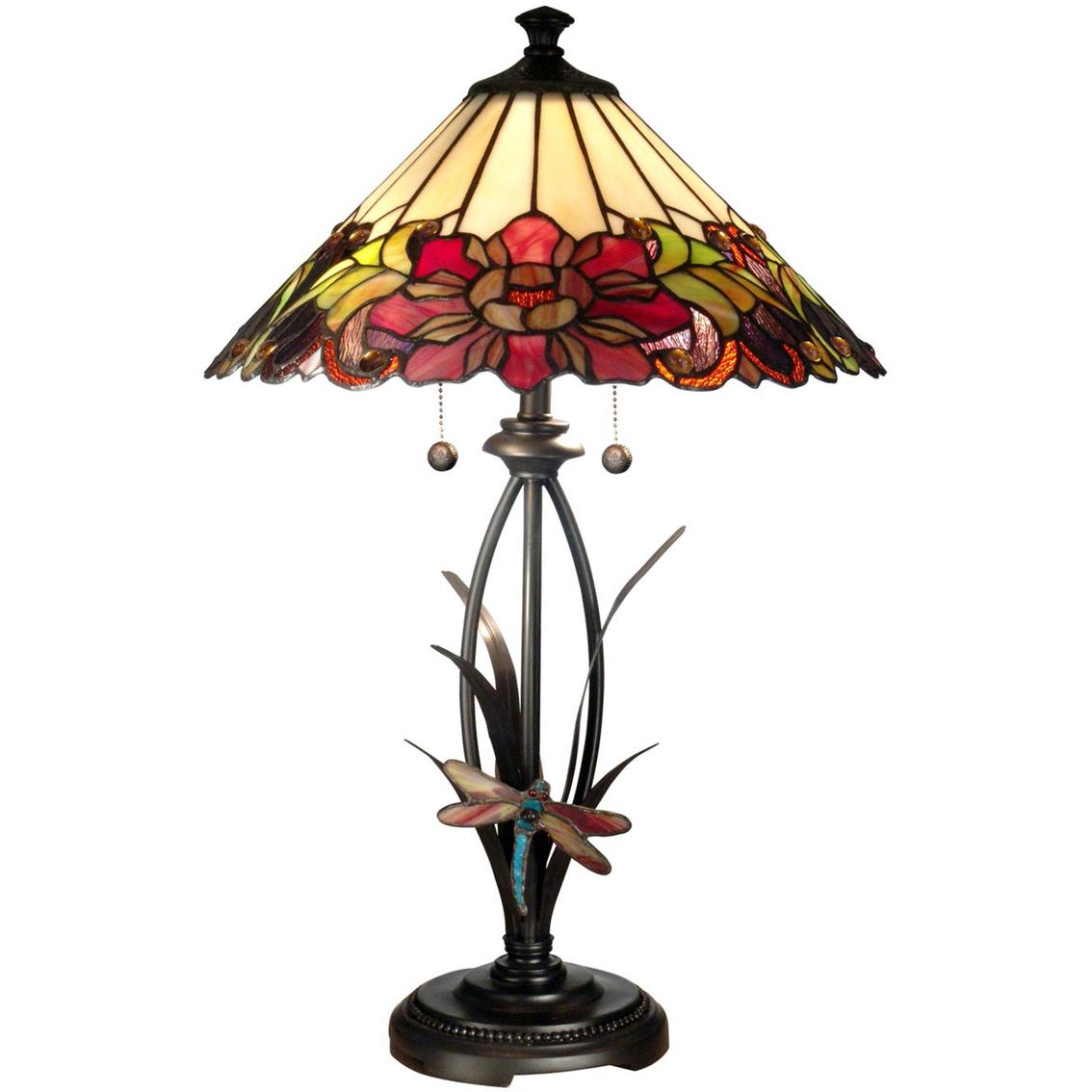 dale tiffany floral table lamp with dragonfly accent lamps handmade runner decorative accessories for dining room modern teak outdoor furniture office cupboard tool chest wheels