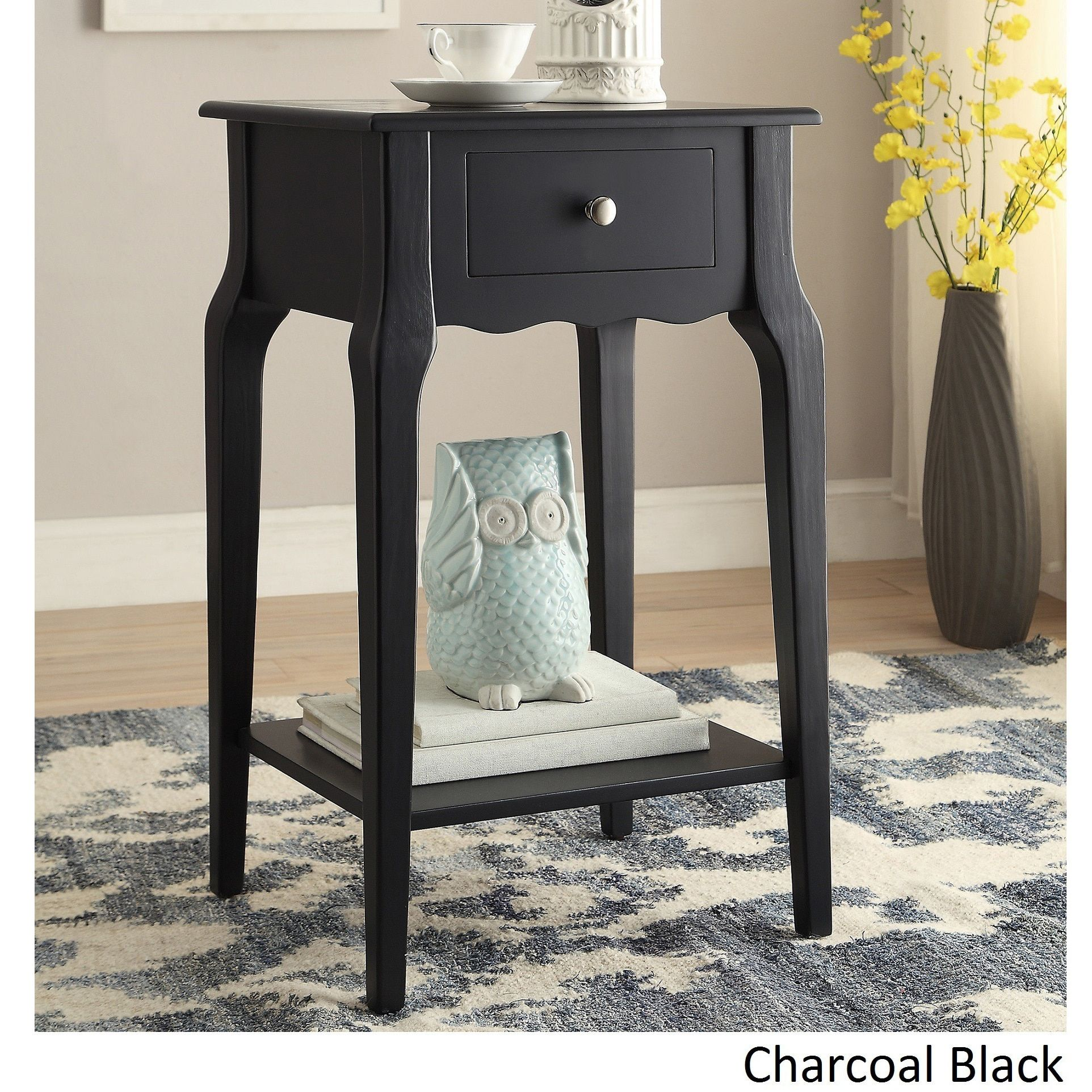 daniella drawer wood storage accent end table inspire bold tachuri target midnight black white coffee short console inch wide nightstand contemporary pendant lights light accents