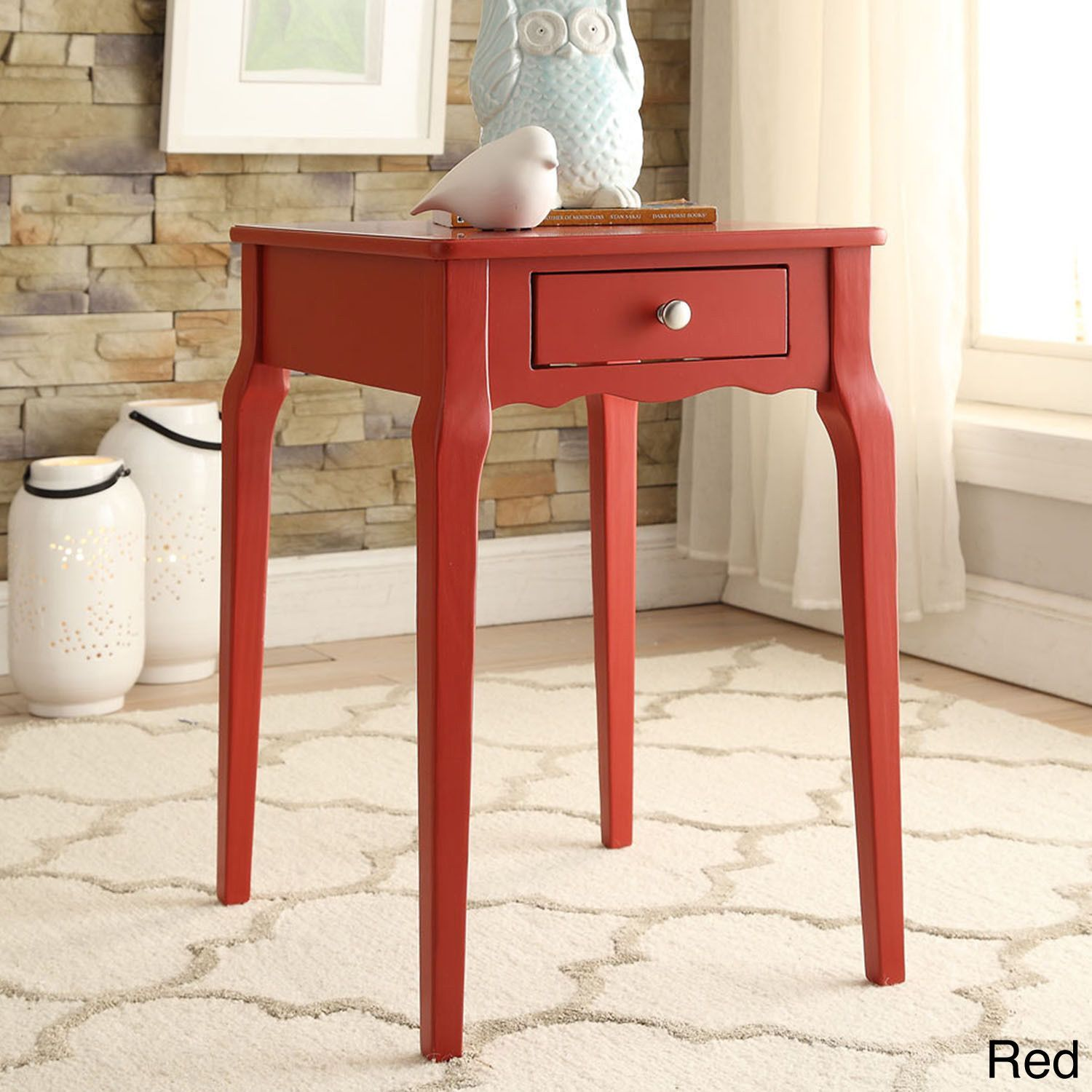 daniella drawer wood storage accent side table inspire red gold metal round coffee wine glass cabinet white cloth tablecloths battery operated bedroom lights kohls bedspreads and