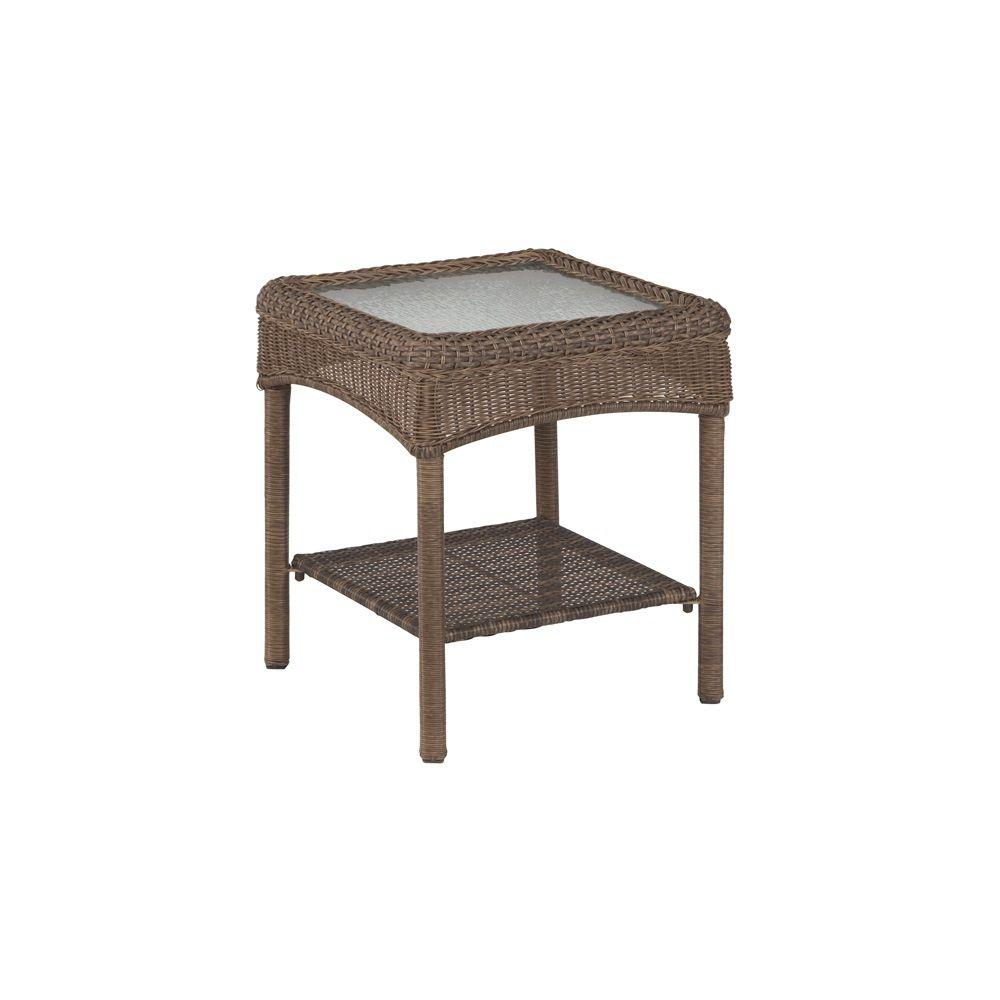 danish modern end table with woven rattan shelf trioh marble martha stewart living charlottetown brown all weather outdoor wicker side round glass top room essentials desk stained