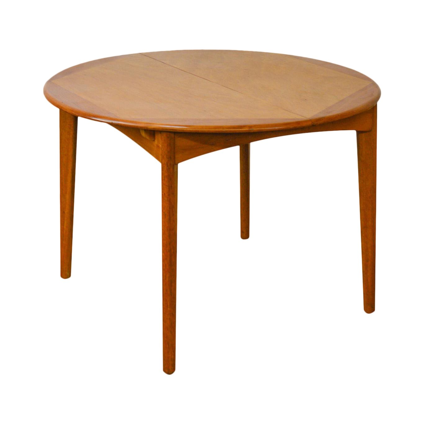 danish modern vintage round teak dining table with pop leaf accent chairish doors bath and beyond area rugs cement base reclining chair threshold wood metal mohawk home ethan