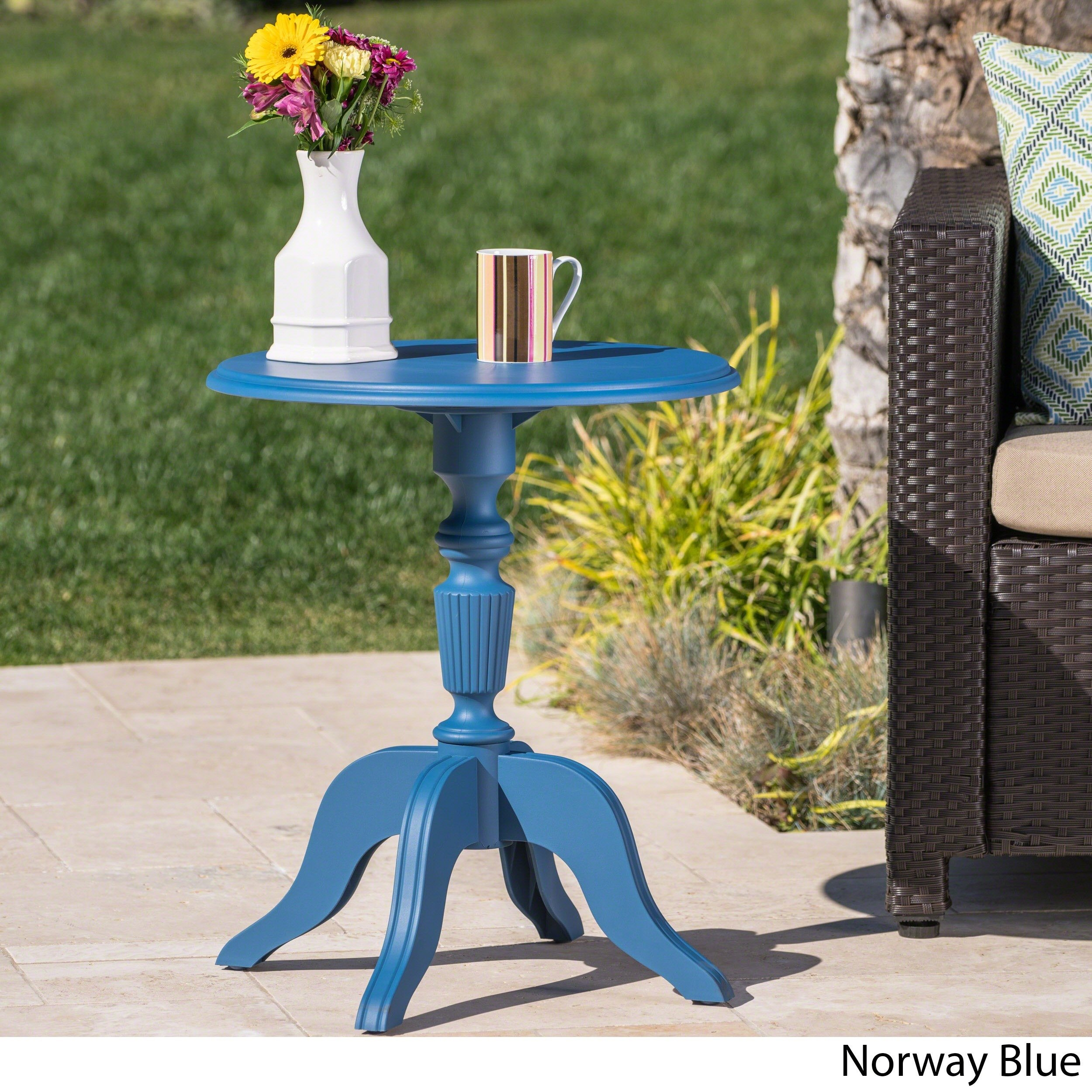 danish outdoor round side table christopher knight home blue free shipping today rattan drum stackable plastic tables beverage cooler purple furniture ikea kids storage boxes