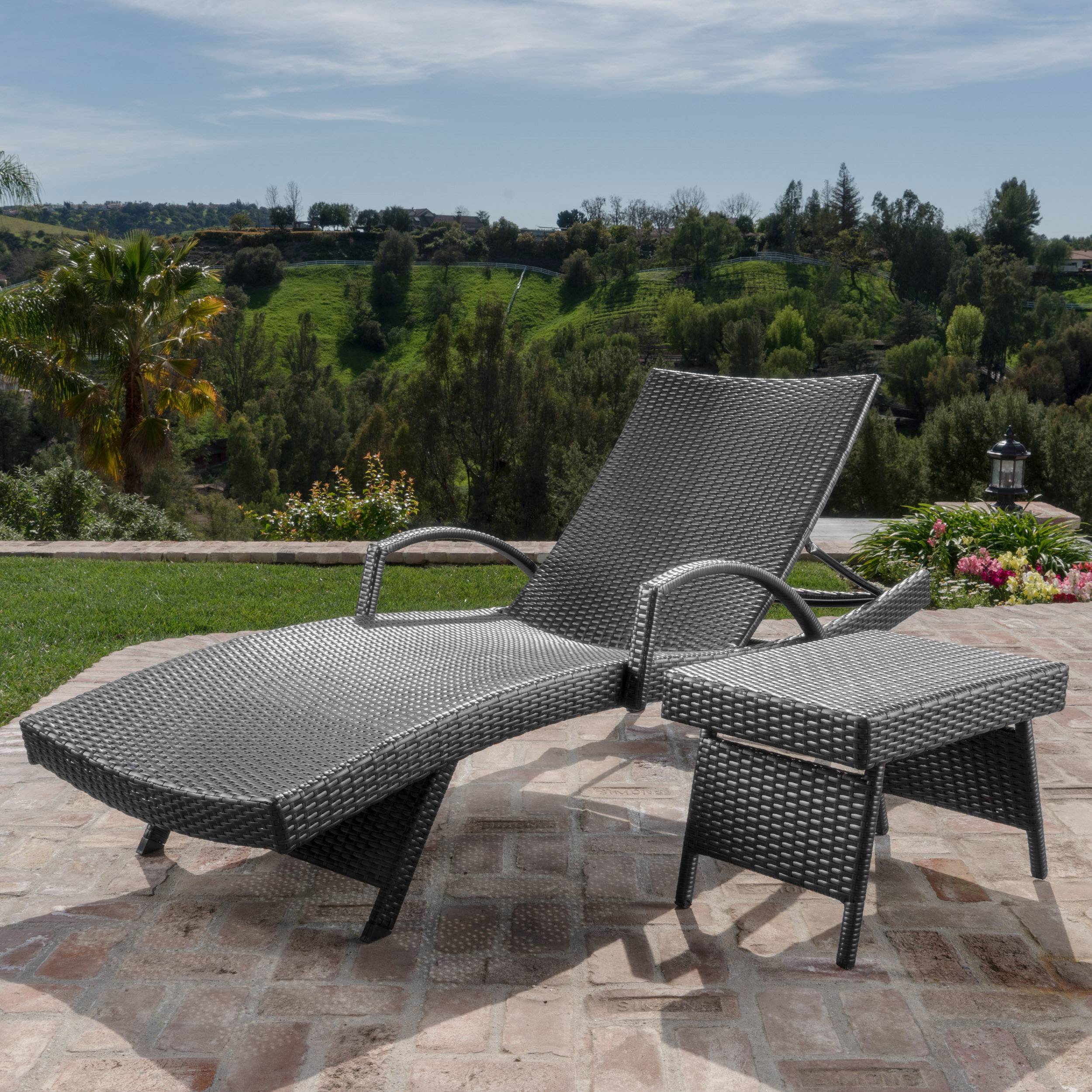 darby home gilleasbuig outdoor wicker chaise lounge with matching accent table patio nautical lights the sea living room cabinets tall pub and chairs teak coffee gray nesting