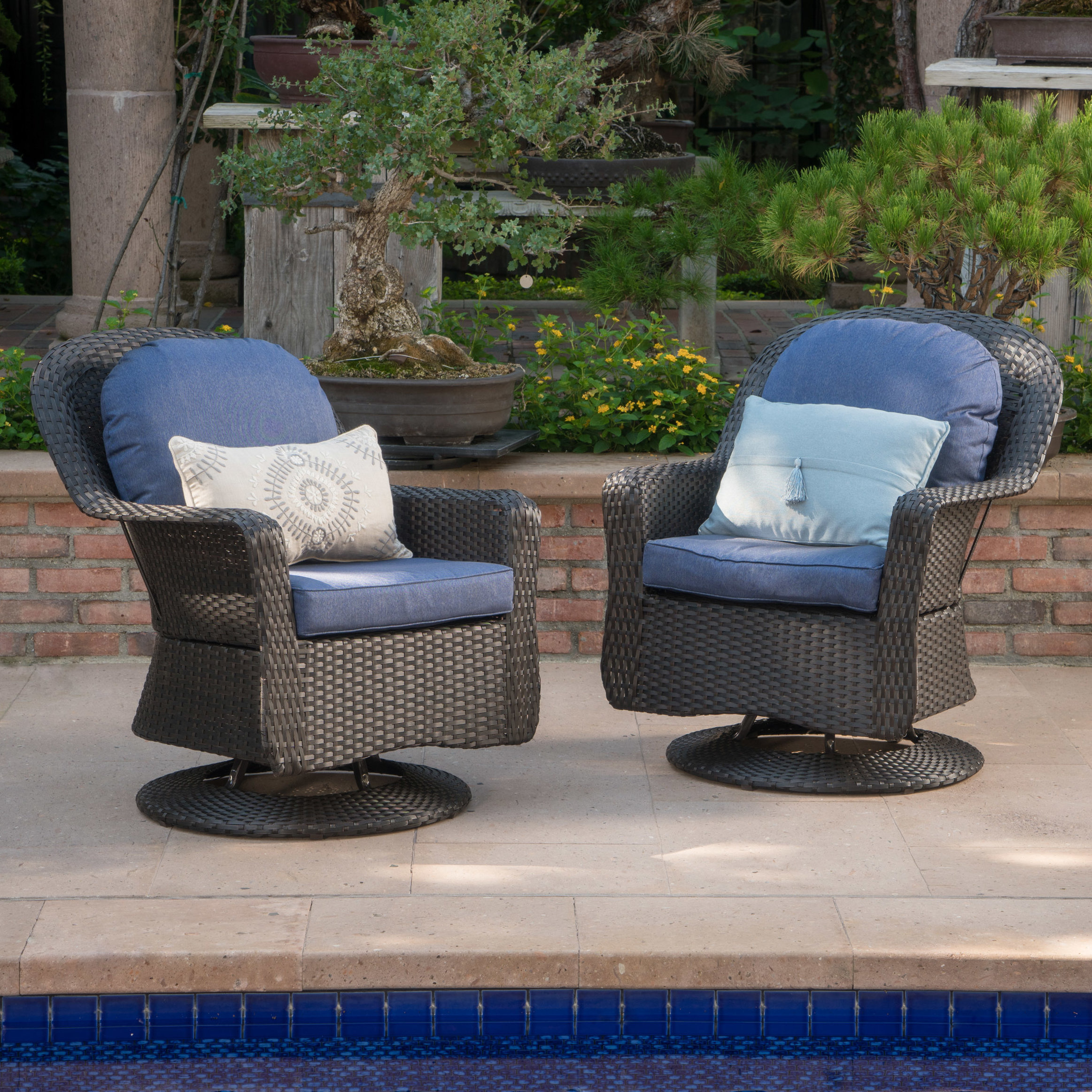 darby home middletown modern outdoor wicker swivel club patio chair with cushions arm pads reviews sitting bicycle kitchen table chairs ikea furniture navy slipper blue next