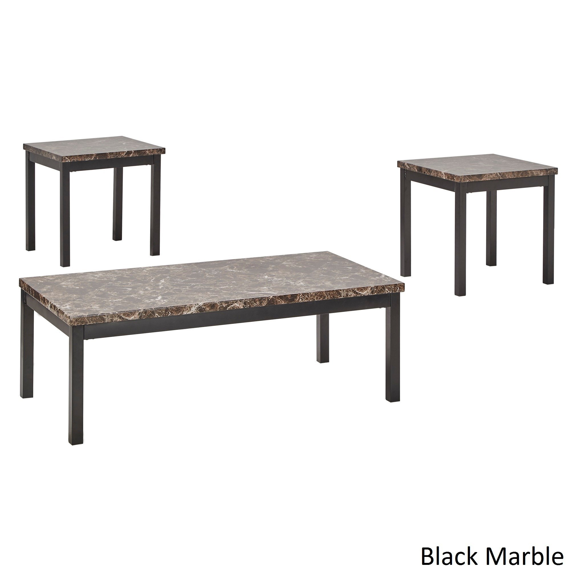 darcy piece metal and faux marble accent table set inspire bold free shipping today clear glass coffee wicker furniture clearance counter height bar contemporary round side