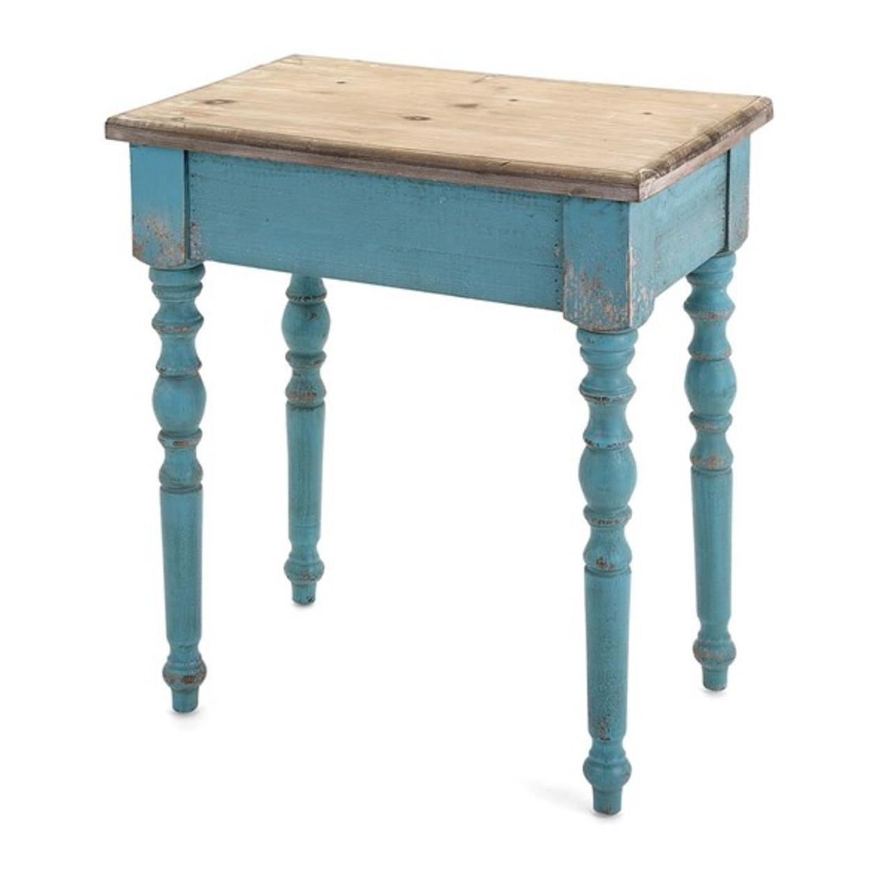dark aqua blue light sandy brown distressed fir decorative accent table and office computer desk round outdoor glass top side elegant dining room furniture sets narrow nesting