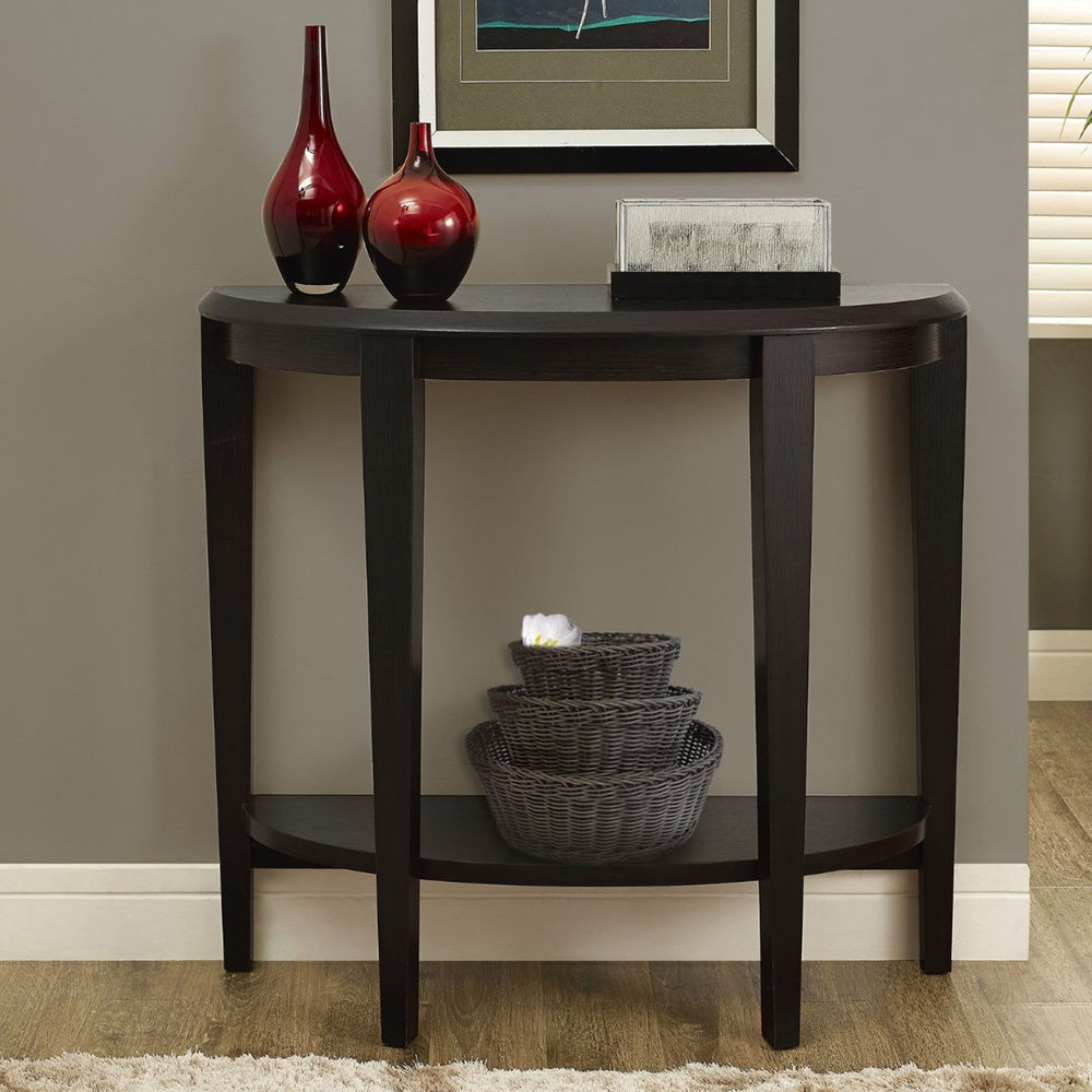 dark brown console table accent sofa entry hall way living french hallway white resin coffee feet front entrance tablecloths and runners cotton napkins linens for inch round small