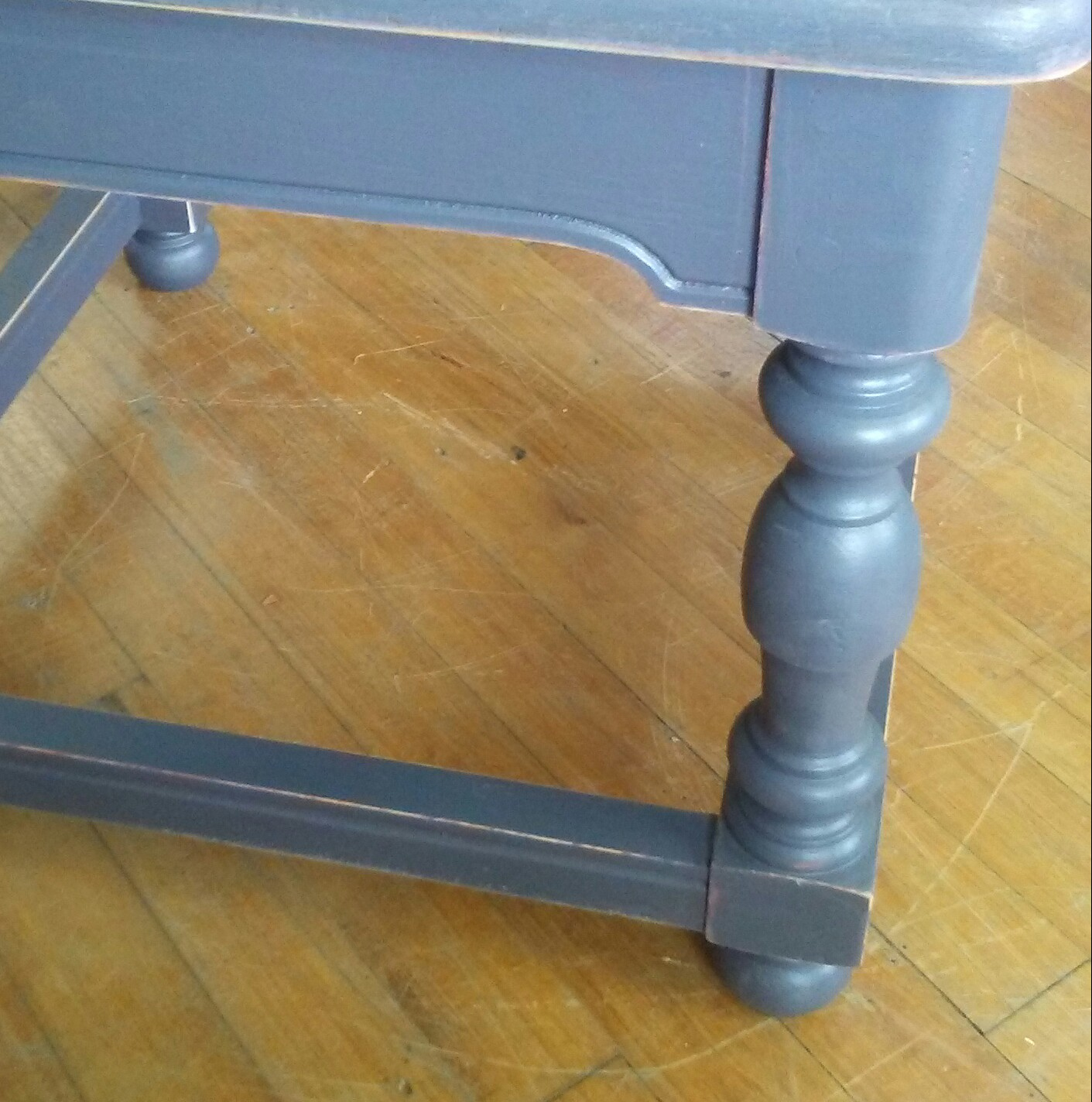 dark gray painted end table shabby chic accent for ori charcoal refurbished vintage and slightly distressed this looks great country farmhouse primitive traditional wood bedside