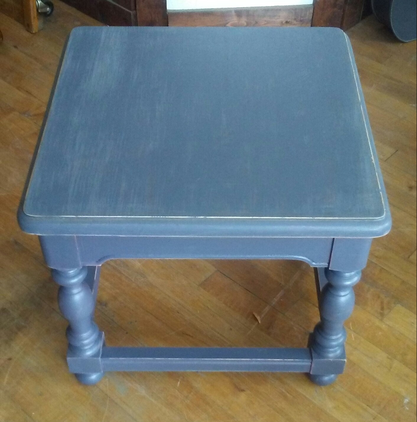 dark gray painted end table shabby chic accent for ori charcoal teal blue refurbished vintage and slightly distressed this looks great country farmhouse primitive traditional
