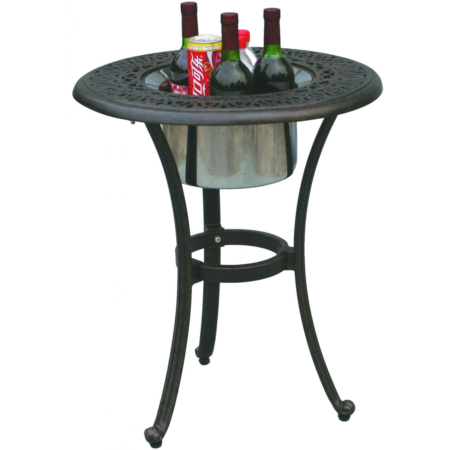 darlee elisabeth cast aluminum ice bucket patio end table outdoor side with actual wrought iron glass top battery operated mini lamps target turquoise lamp furniture chairs