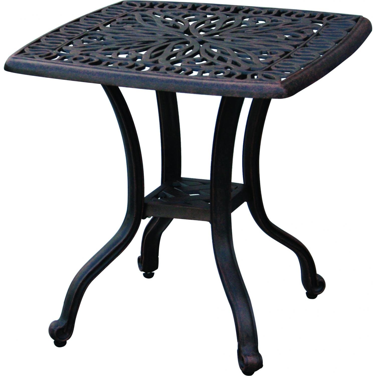 darlee elisabeth cast aluminum outdoor patio end table accent tables inch square antique bronze side garden nautical lamps bunnings shuffleboard gallerie dining set blue living
