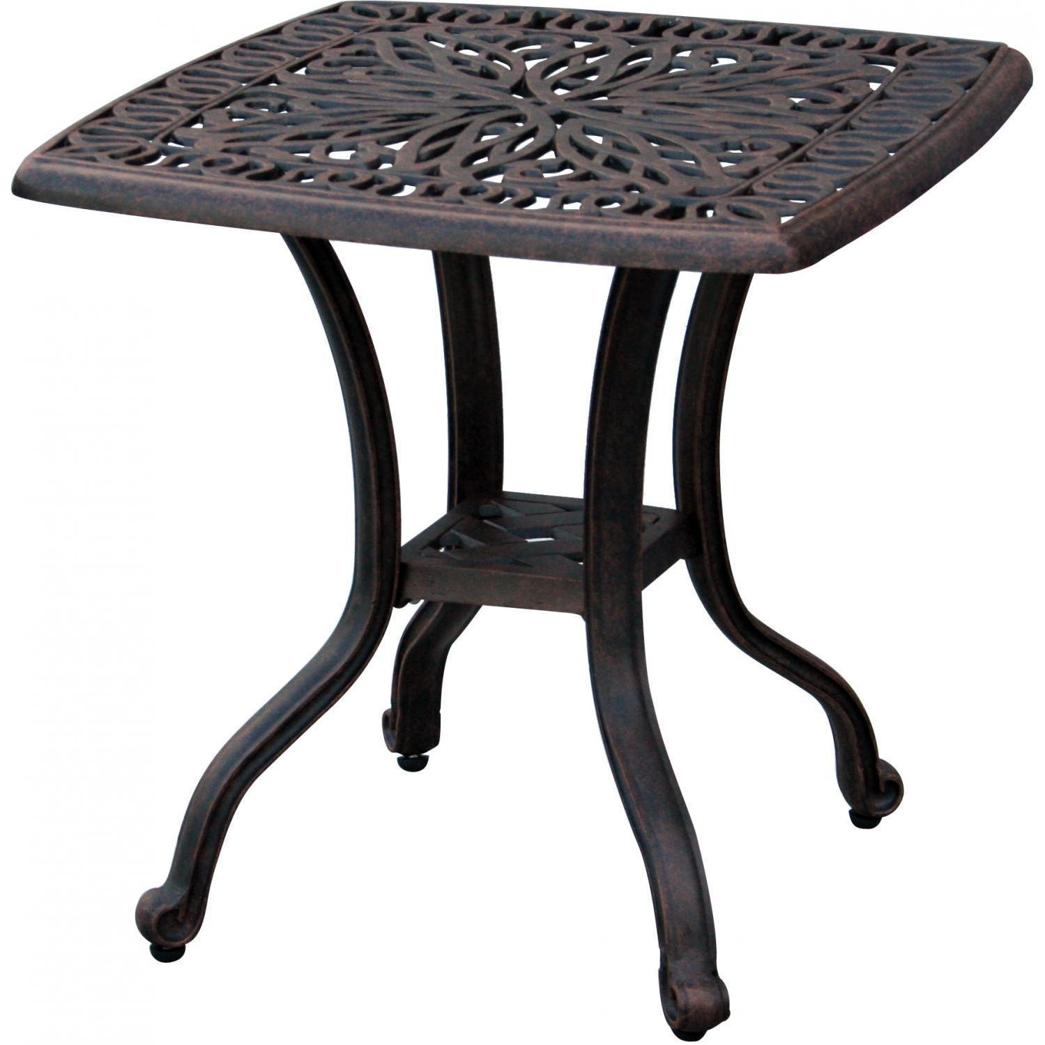 darlee elisabeth piece cast aluminum patio conversation seating umbrella accent table set end with ice bucket insert bbq guys home goods chairs woven furniture target black rustic