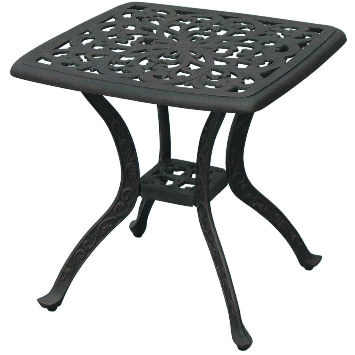darlee series cast aluminum patio end table square bbq guys outdoor side for decoration ideas parties blue tables living room furniture weathered round red tablecloth coffee barn