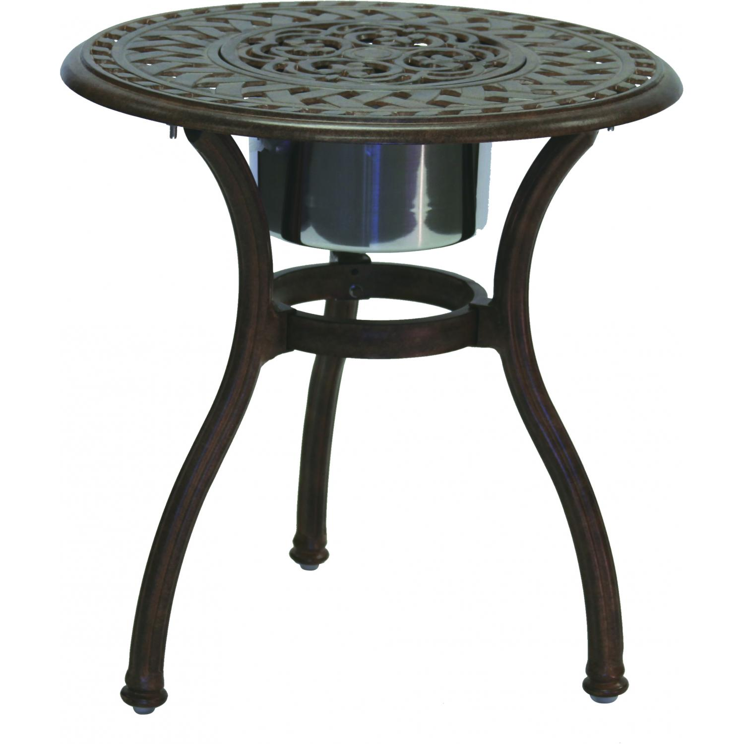 darlee series cast aluminum patio end table with ice bucket outdoor side insert antique bronze bbq guys target ott round battery operated mini lamps turquoise lamp cool home decor