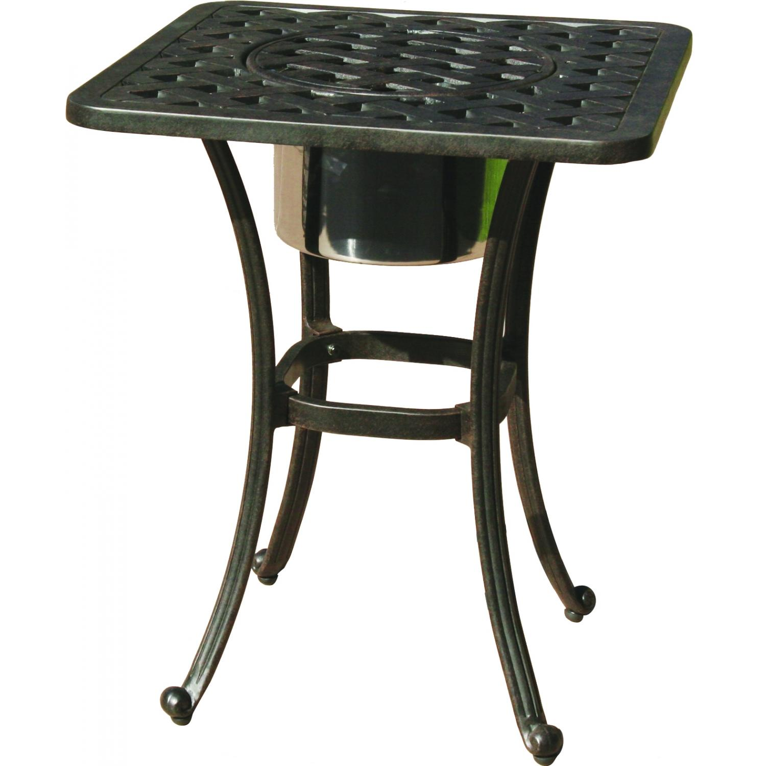 darlee series cast aluminum patio end table with ice bucket outdoor side insert square bbq guys dresser hardware stands for living room teak garden coffee black furniture battery