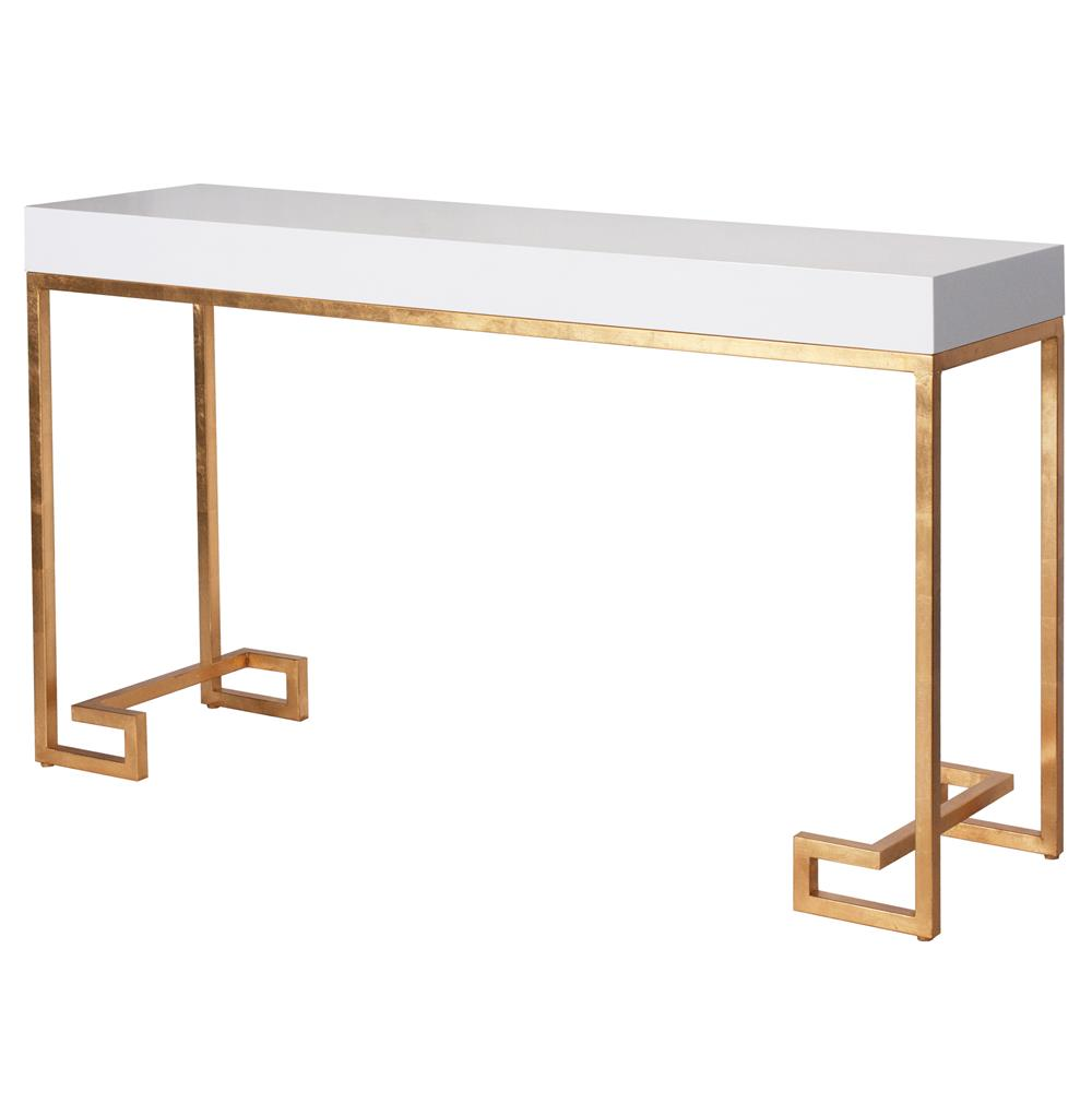 davinci hollywood regency white lacquer gold console table kathy product accent kuo home pier one art blue outdoor side ikea storage bins industrial set round coffee tables bath
