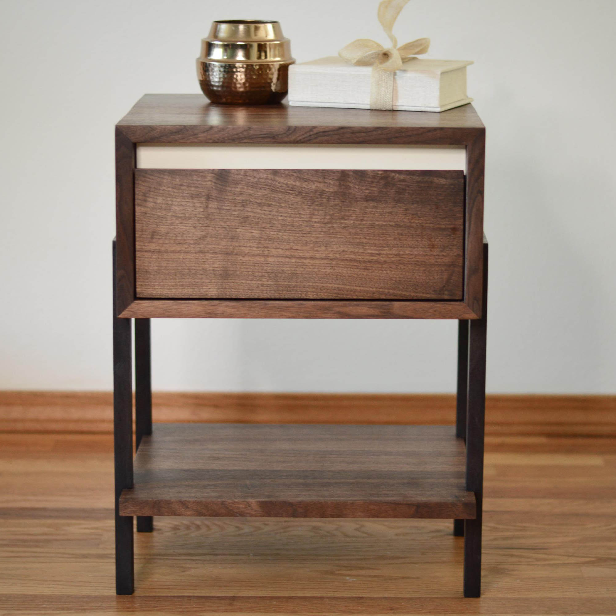 dayton walnut side table white accent thisisurbanmade coffee with gold and silver lamps pottery barn tabletop italian unique wall clocks round metal wood top jofran small storage