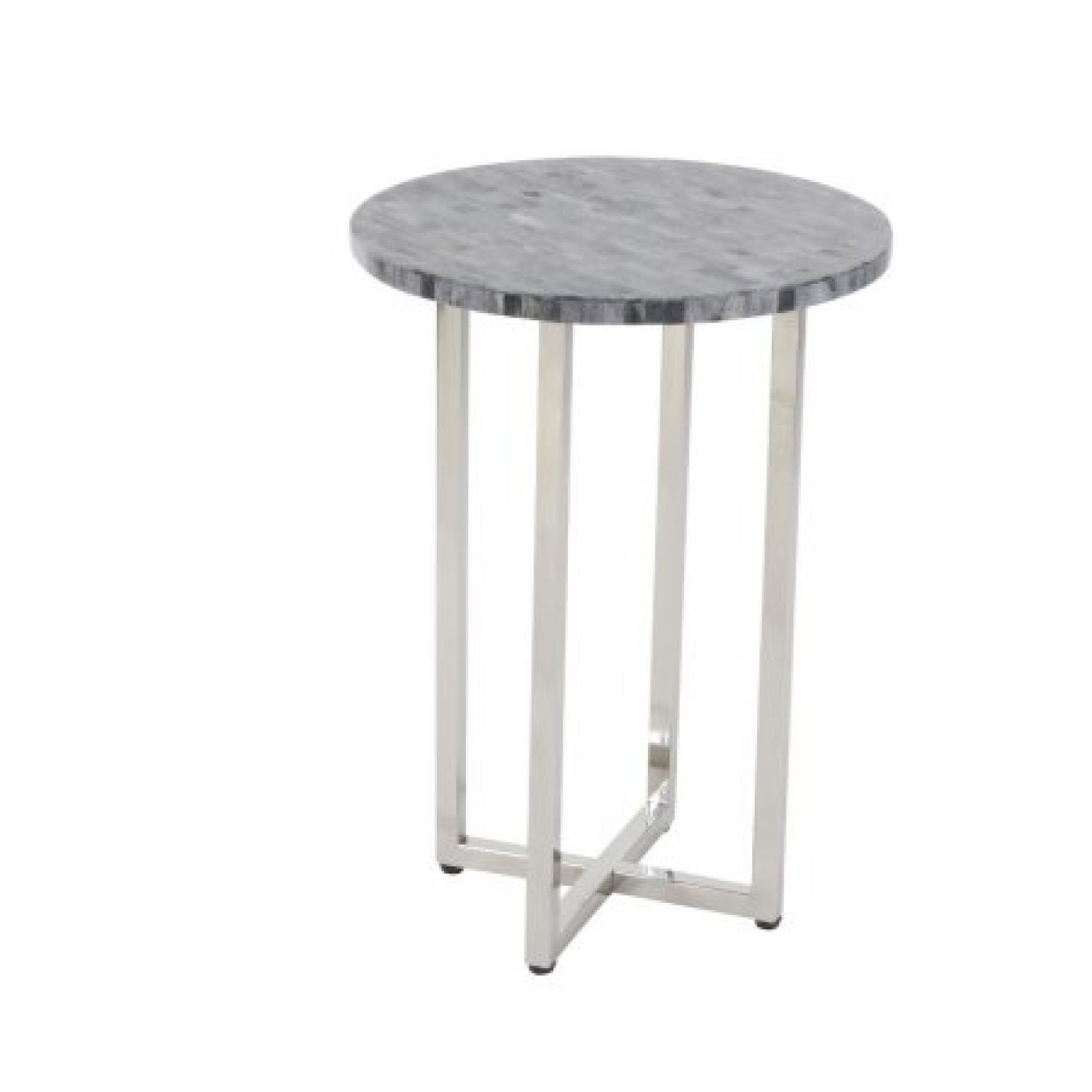 decmode contemporary inch stainless steel round accent table radiant gray modern and furniture marble with chairs uttermost laton mirrored bourse real wood coffee homesense patio