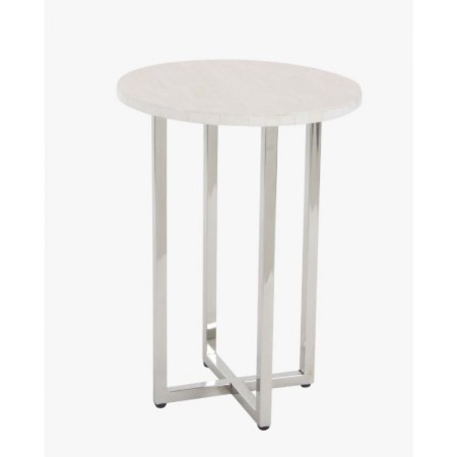 decmode modern inch white polystone round accent table enticing stainless steel ikea patio coastal inspired chandeliers dale tiffany wisteria lamp garden box wood end with glass