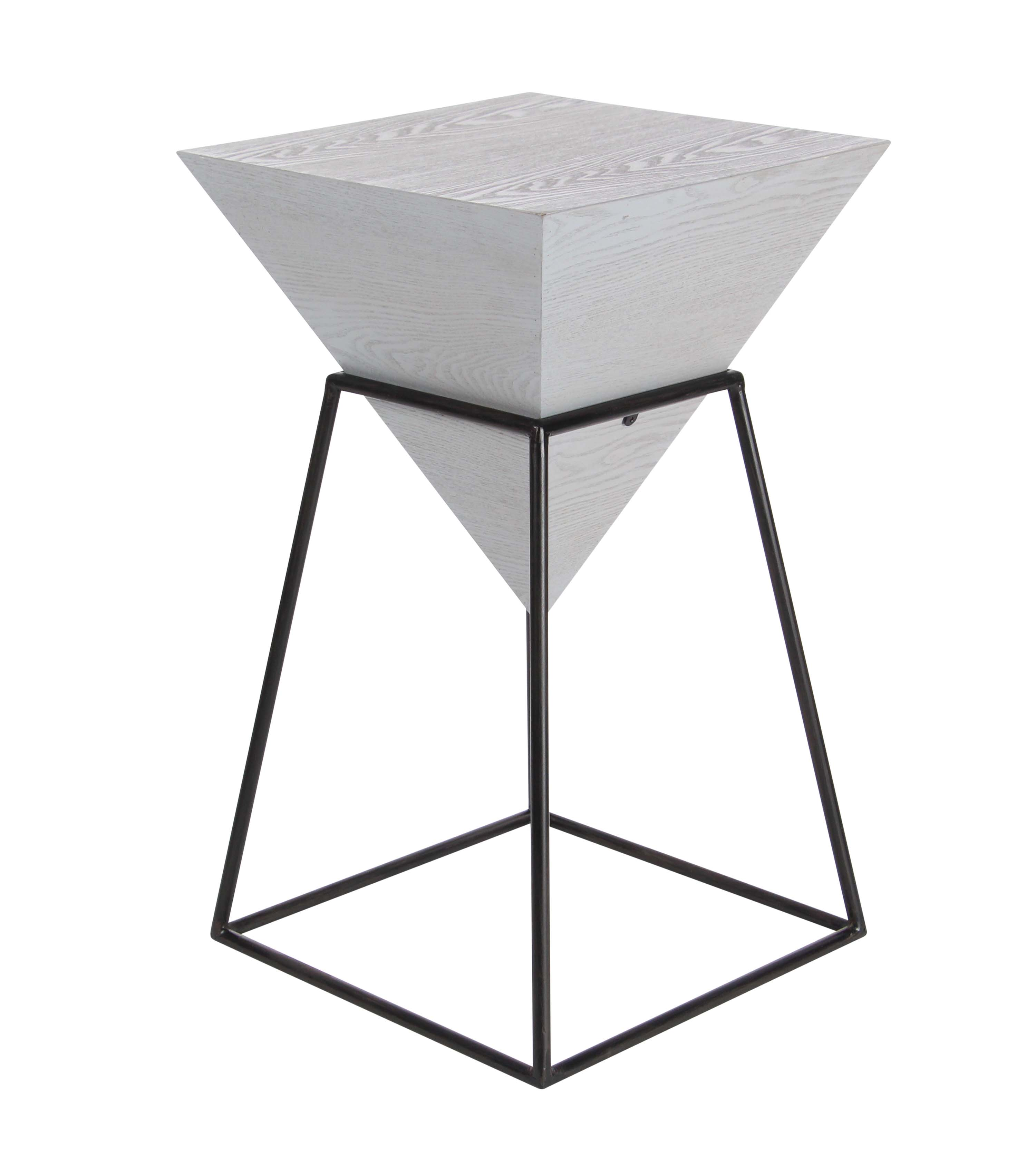 decmode modern inch white wood and metal pyramid accent table high bar cute chair acrylic entry small oak coffee round marble gold legs painted trestle leaf pier chairs plastic