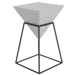 decmode modern inch white wood and metal pyramid accent table outdoor tables ceiling chandelier shabby chic bedside furniture coffee end retro oak side lamp combo blue chair with 150x150