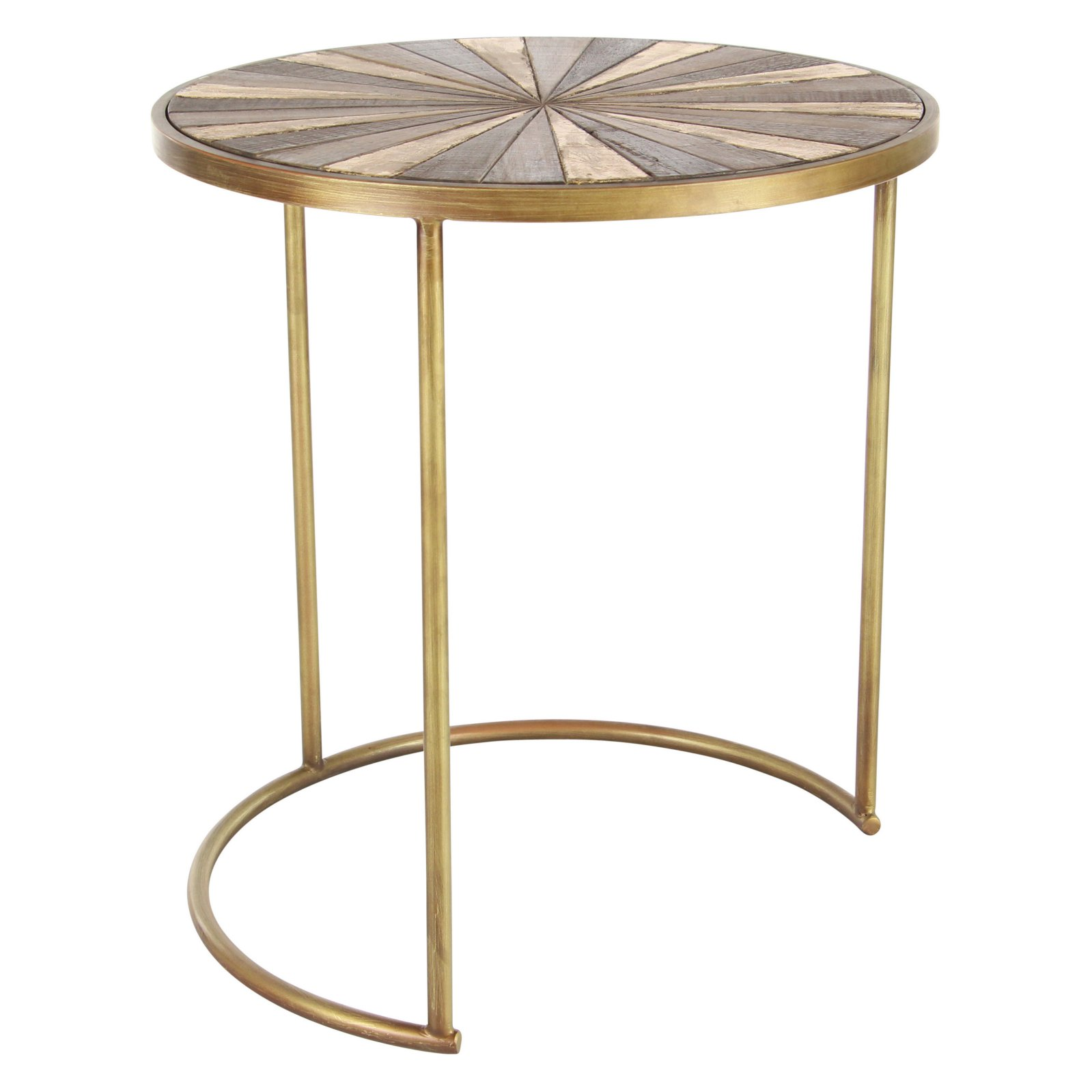 decmode round metal and wood accent tables set scale brass table stacking ikea marble asian style bedside lamps white coffee glass inch cover furniture pieces drop leaf kitchen