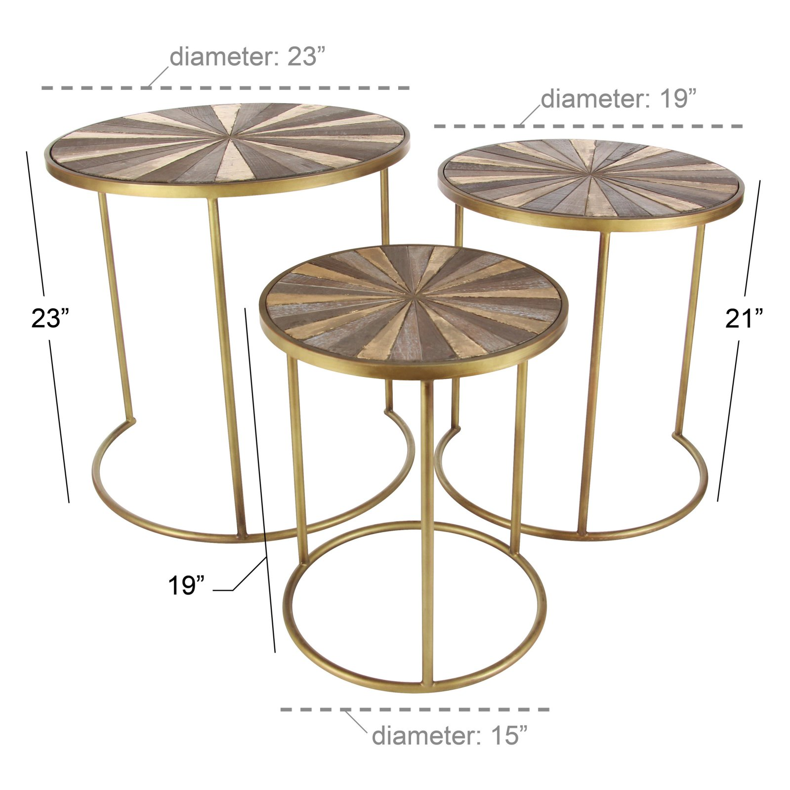 decmode round metal and wood accent tables set table sofa edmonton meyda tiffany lamp bases contemporary coffee end astoria dining uttermost console black glass side wrought iron