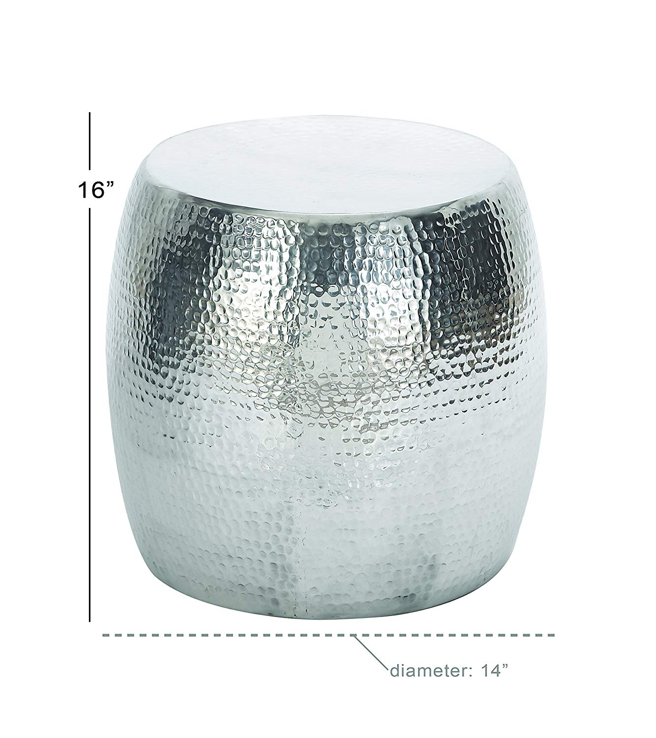 deco benzara vintage inspire aluminum hammered knurl accent table stool diameter silver kitchen dining pottery barn round pedestal mini desk lamp big coffee tables mirrored side