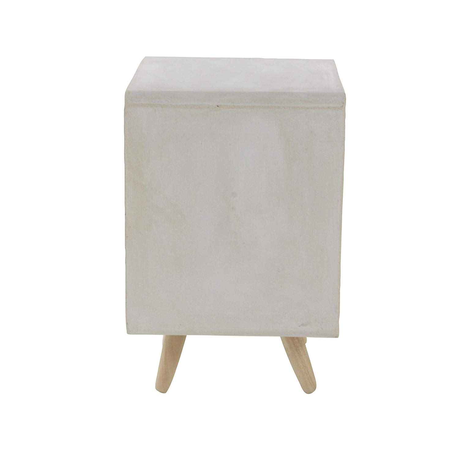 deco fiber clay and wood accent table cube white lightbrown kitchen dining rain drum venetian mirrored furniture living room end ideas black pilgrim small console chest inch round