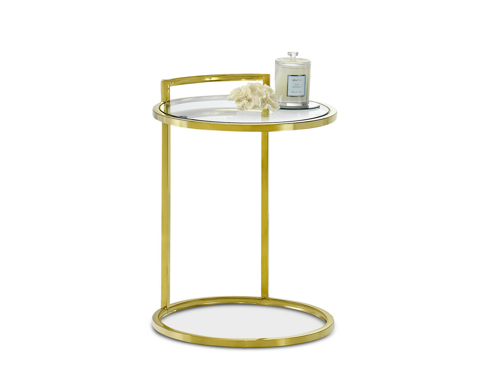 deco luxe side accent table round tall gold tempered glass top hollywood regency sage green paint pier imports lamps tiffany pond lily lamp perspex nest tables set nesting retro