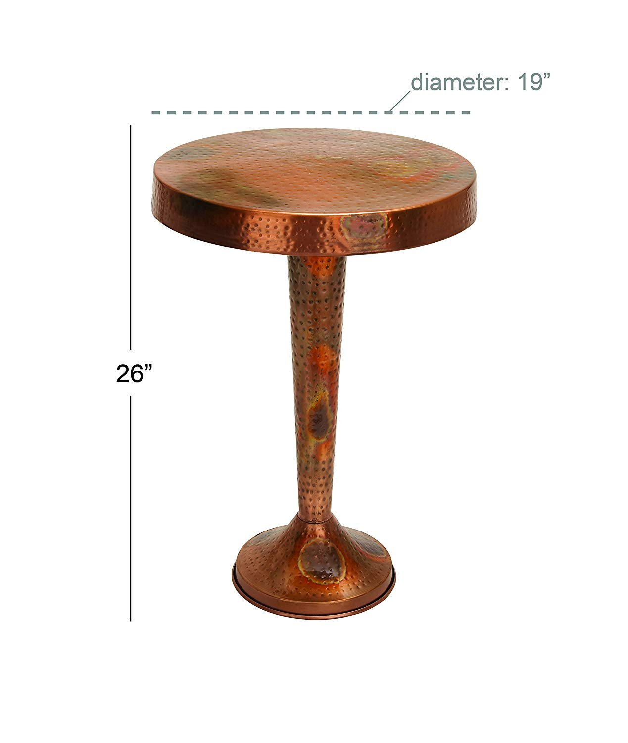 deco metal copper accent table inch cylinder drum kitchen dining oak lamp bedside lights bar bistro tiffany lily shades storage chest west elm buffet target file cabinet build