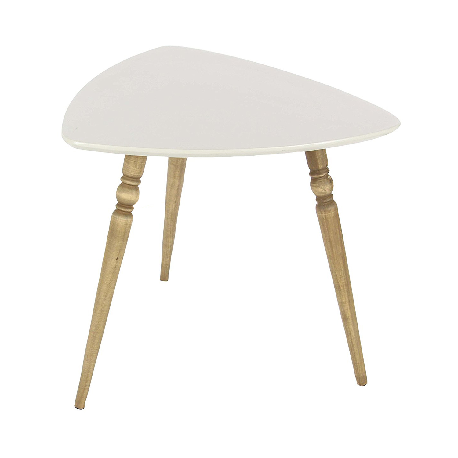 deco rounded triangle white matte finish wooden accent side end living spaces tables table stand large ginger jar lamps beach uttermost vintage storage trunks real marble gaming