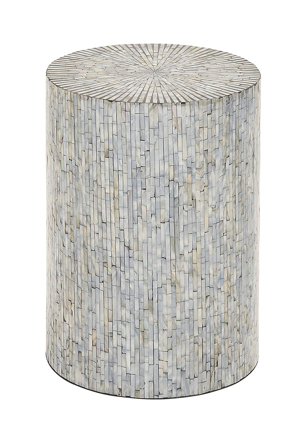 deco wood shell inlay accent table silver home kitchen metal side nautical bathroom lighting bridal shower basket ideas butler specialty console garden parasol base small wooden