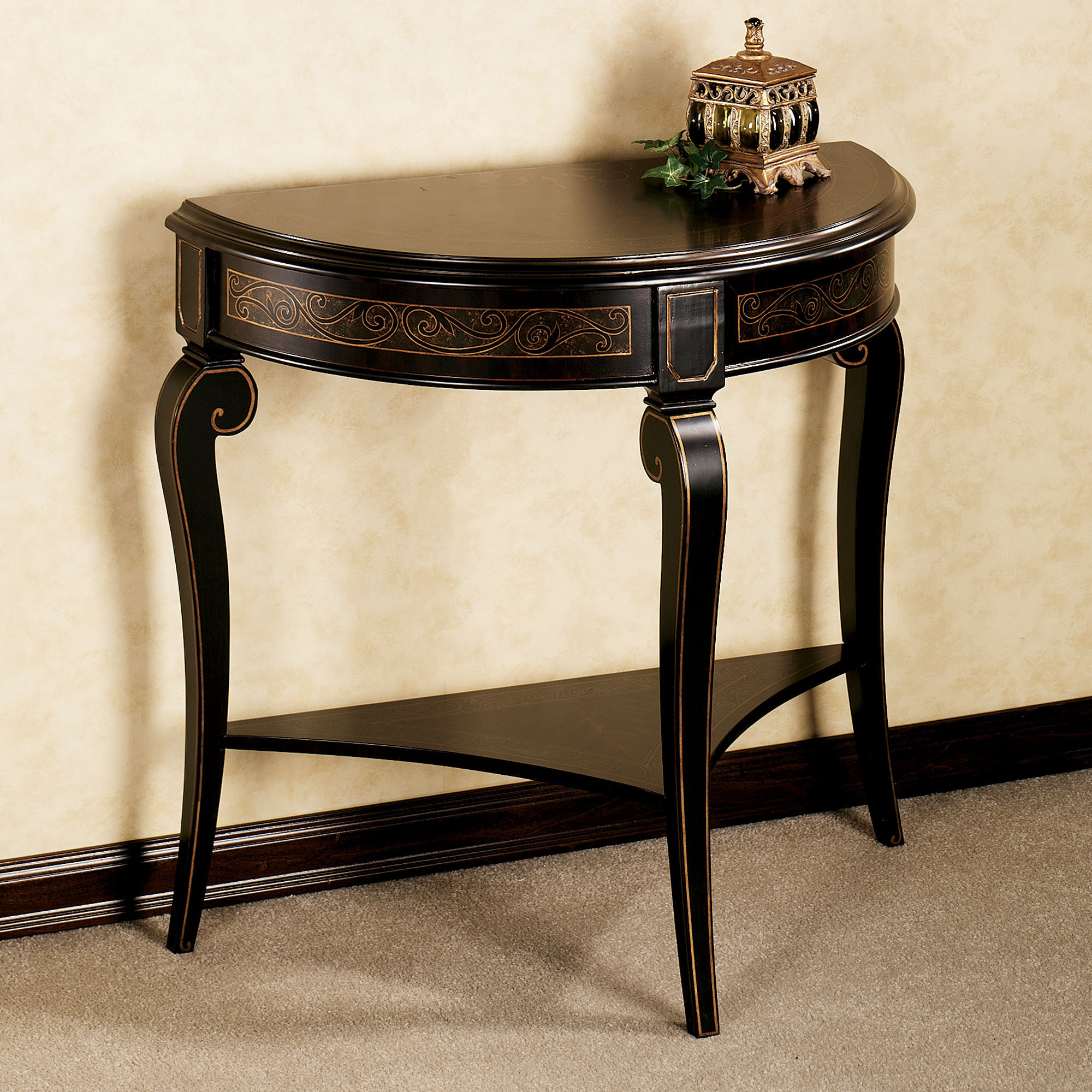 decor breathtaking foyer table make wonderful your home furniture elegant frugal orleans marble top half round dark brown solid wood design with under shelf standing beige capet
