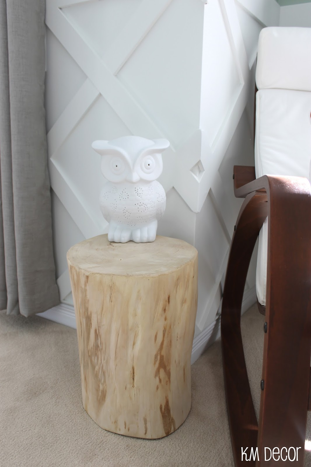 decor diy stump accent table img nursery had always liked the idea using tree room when decided with woodland animal for our baby very small console half wall west elm media
