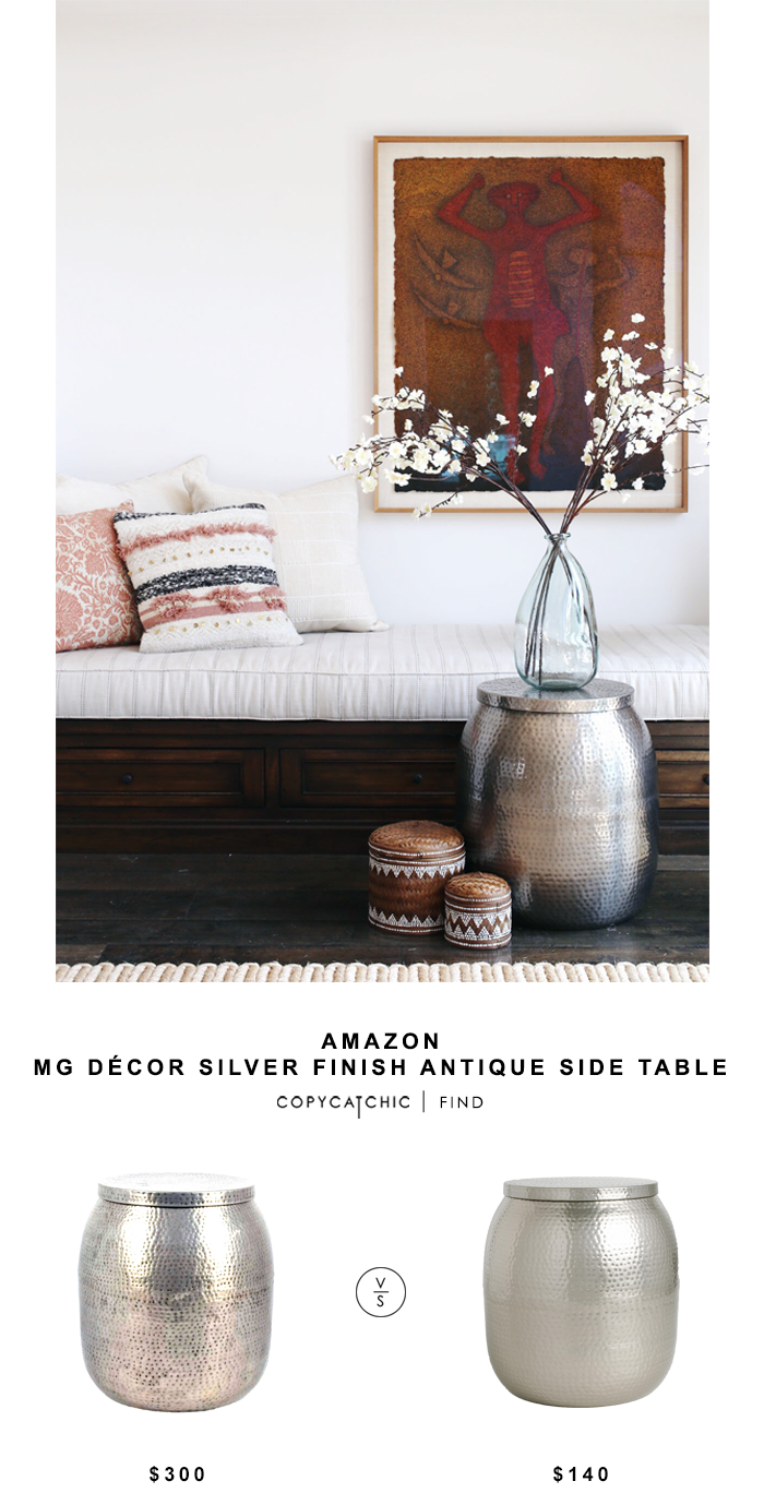 decor silver finish antique side table copycatchic madhus look for less gold hammered accent world market cala drum inch wide nightstand tall with shelves ethan allen drop leaf