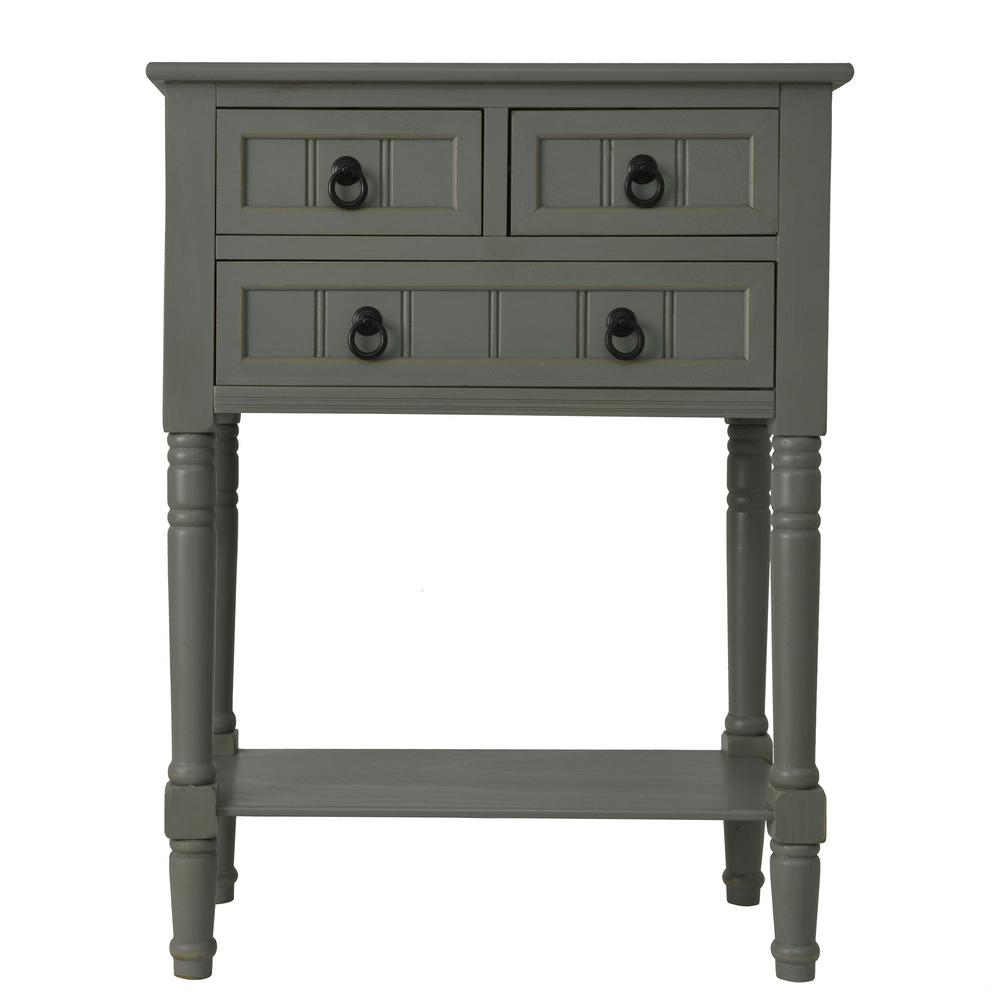 decor therapy antique gray drawer console accent table tables three barn dining corner study patio cushions blue ceramic stool percussion bell kit multi coloured nest pier wicker