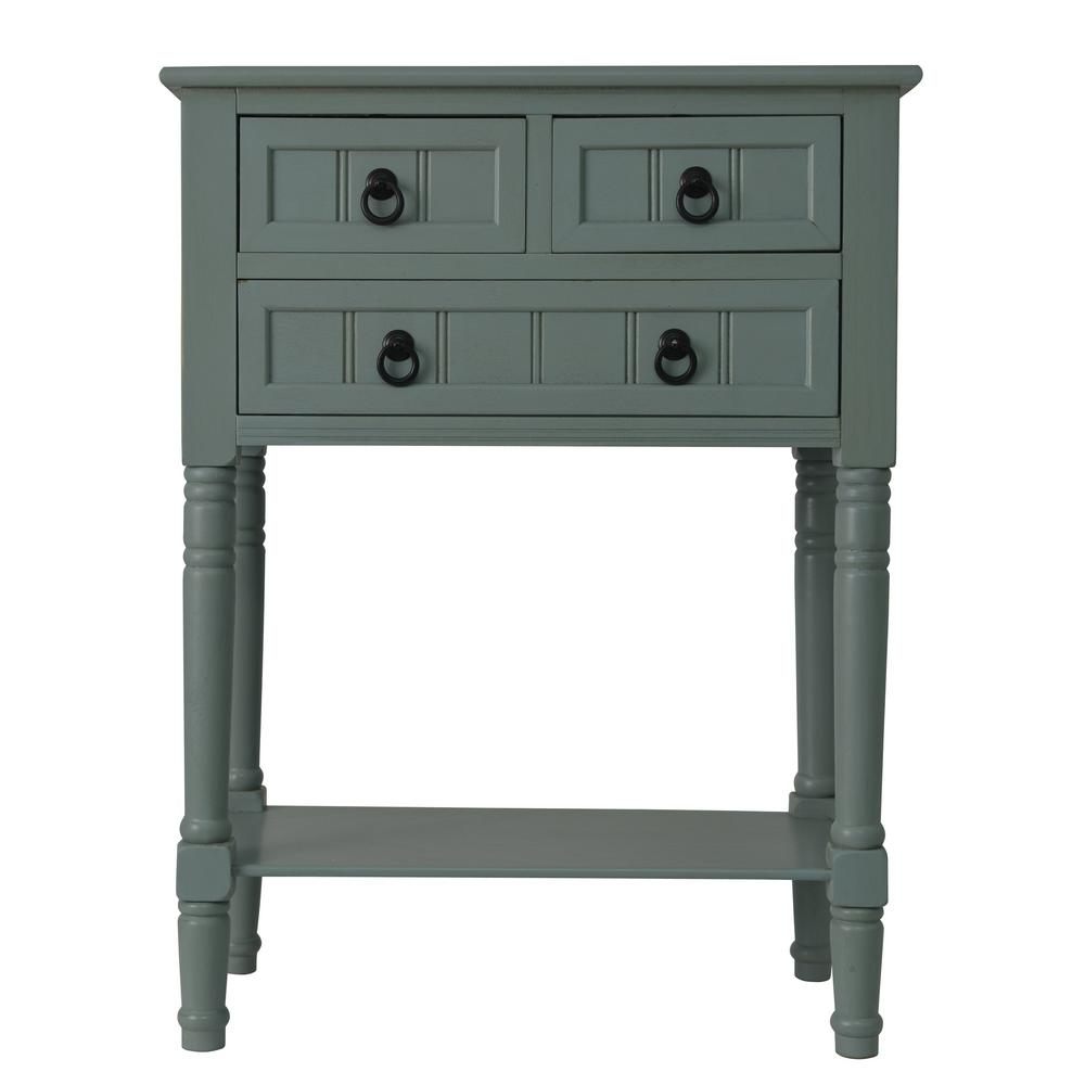decor therapy antique iced blue drawer console accent table tables the fine furniture edmonton distressed red coffee cloth runners piece nesting set mirror design narrow patio