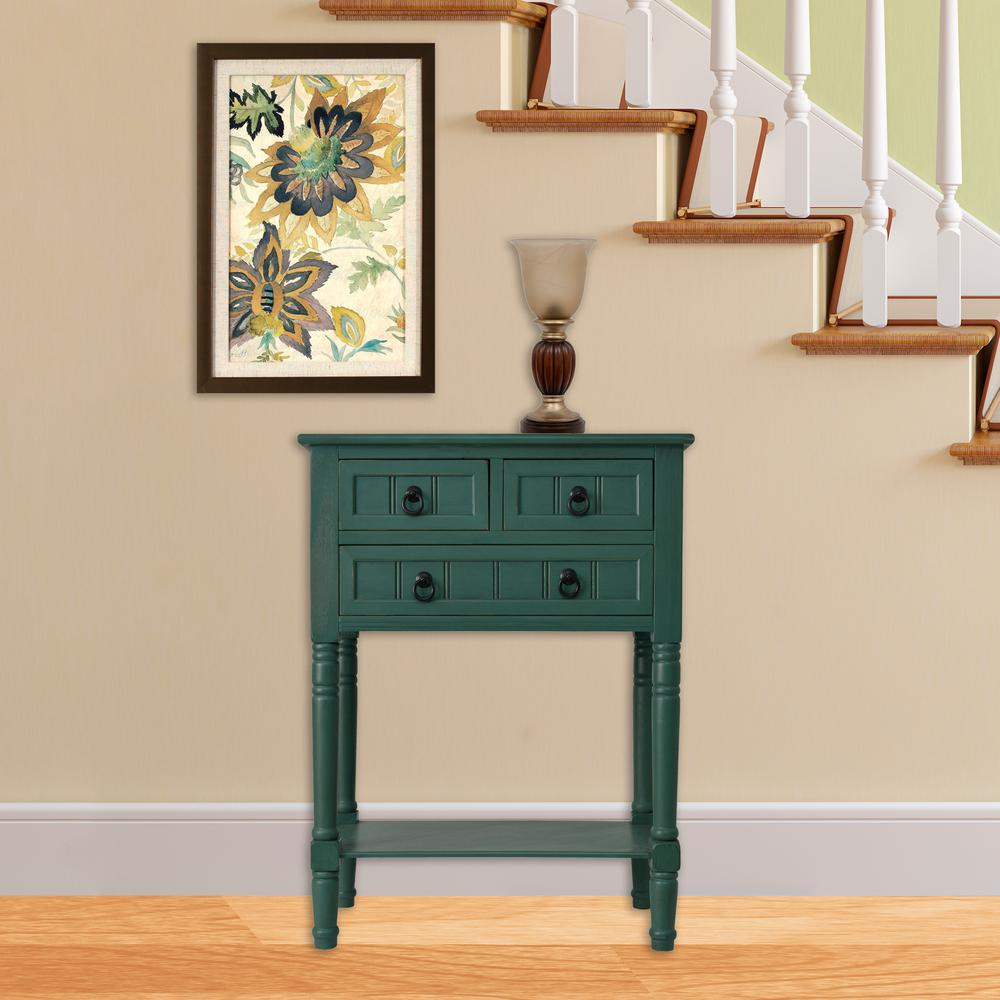 decor therapy antique teal drawer console accent table tables the outdoor mosaic bistro and chairs small half moon nautical furniture drum bench french trestle dining glass mirror